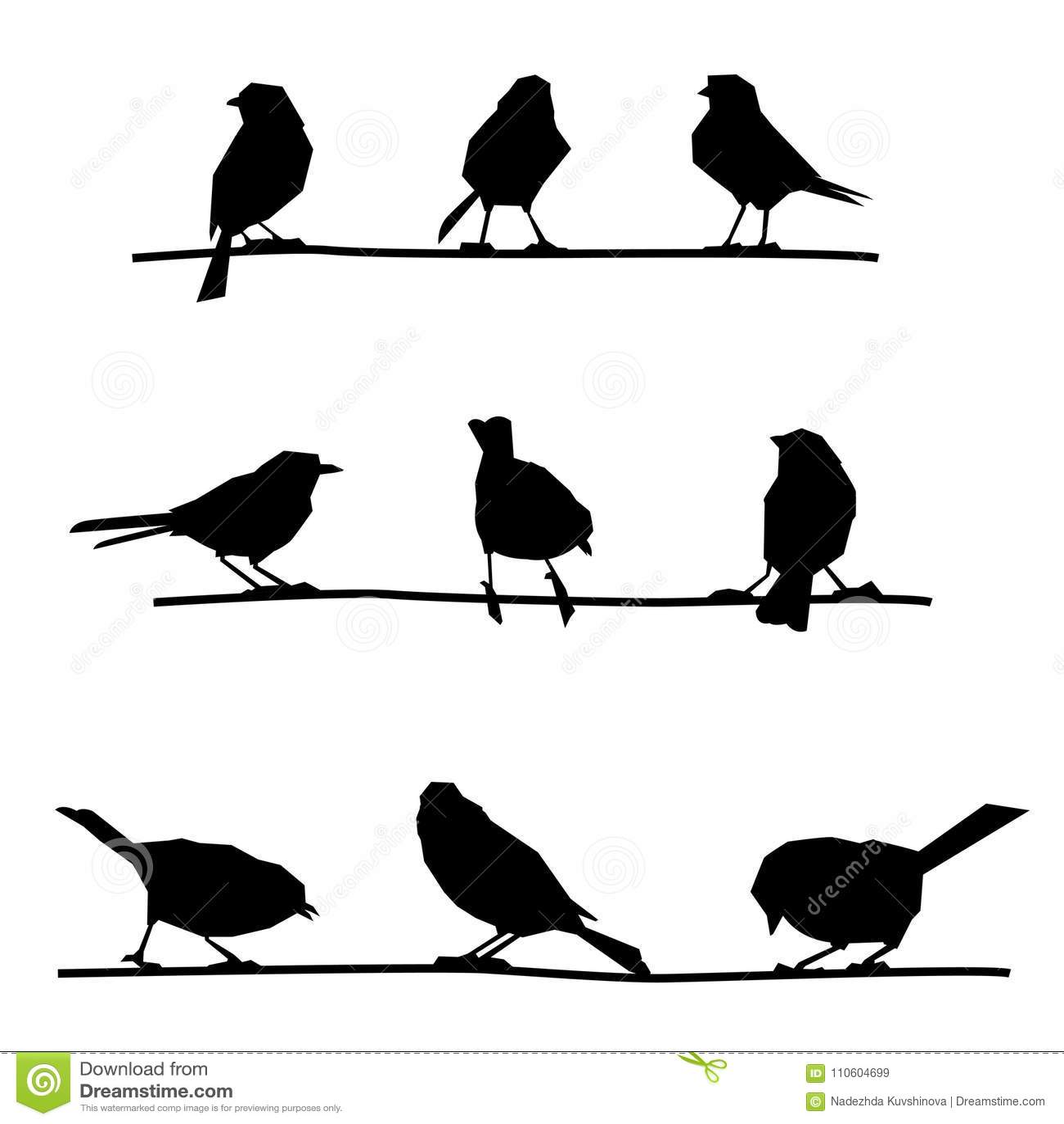 Birds On Branches Stock Vector Illustration Of Flight 110604699
