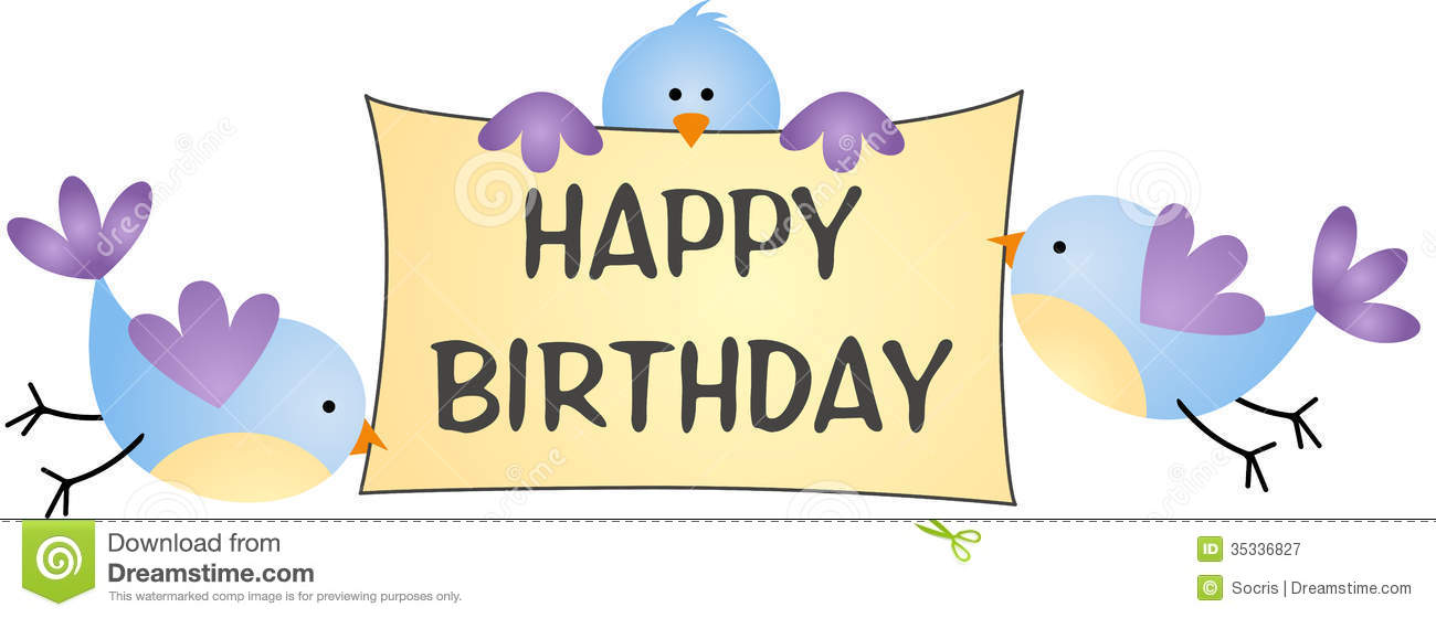 Birds Carrying Message Happy Birthday Royalty Free Stock Photography ...