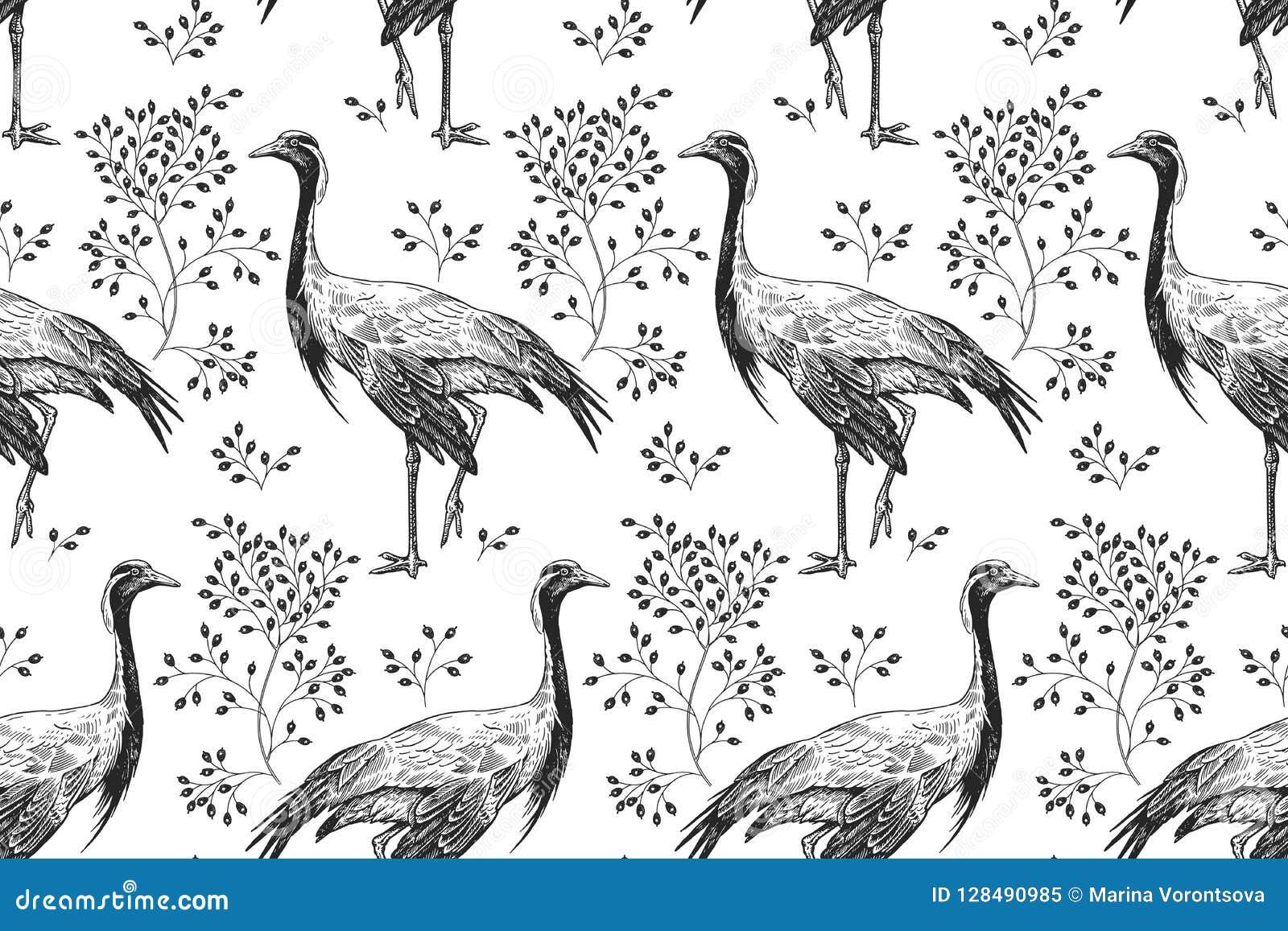 Vintage Feather Birds 1 Black  1 White