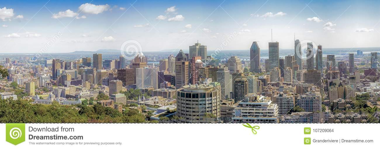 A birds eye view of central Montreal from Mont Royal