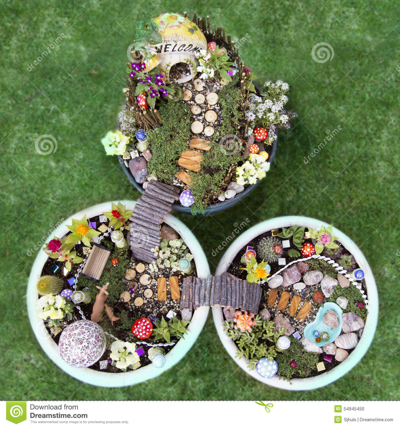 Garden Design Birds Eye View birds eye view of fairy garden in a flower pot stock photo - image