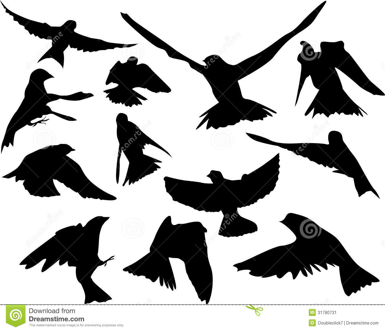 Birds in flight silhouette stock illustration ...