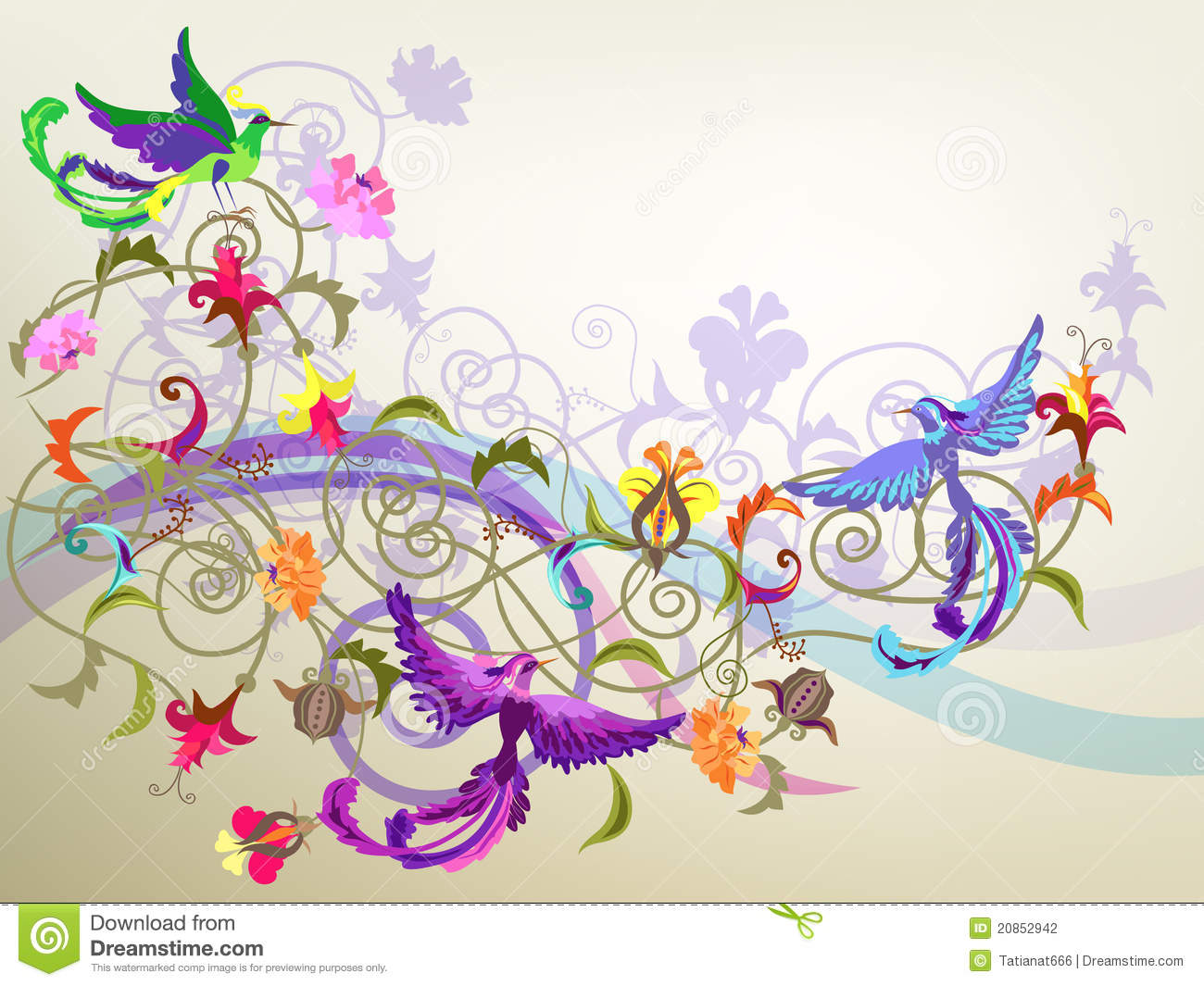 Decorative colorful background with stylized flowers and birds ...