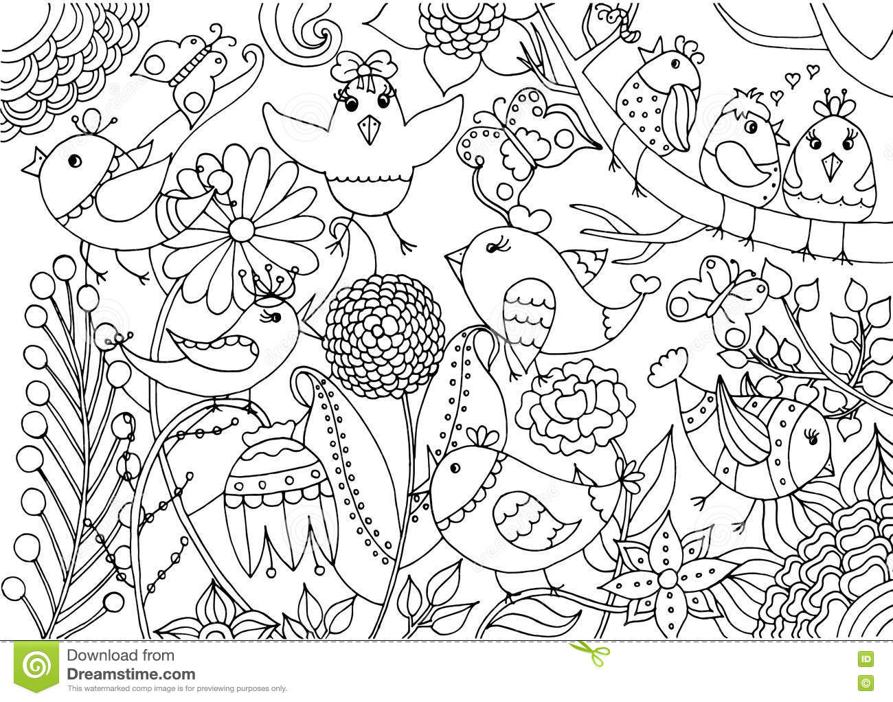 Royalty Free Vector Download Birds And Flowers Coloring Page