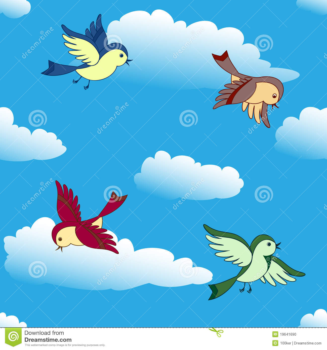 Vector birds flying in blue sky seamless background.