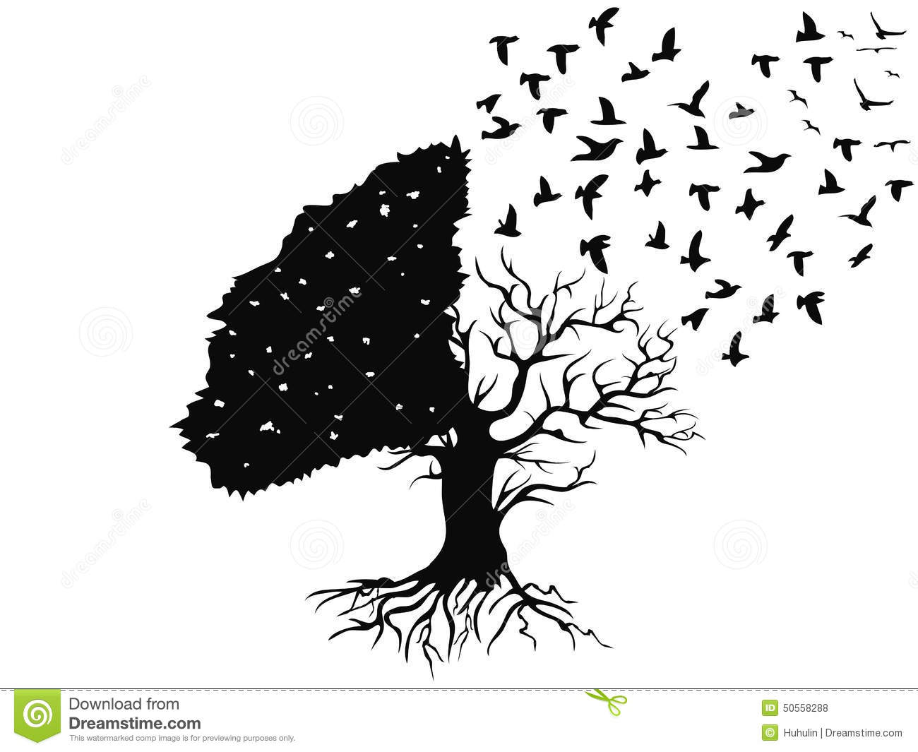 Birds Flying From The Tree Stock Vector - Image: 50558288
