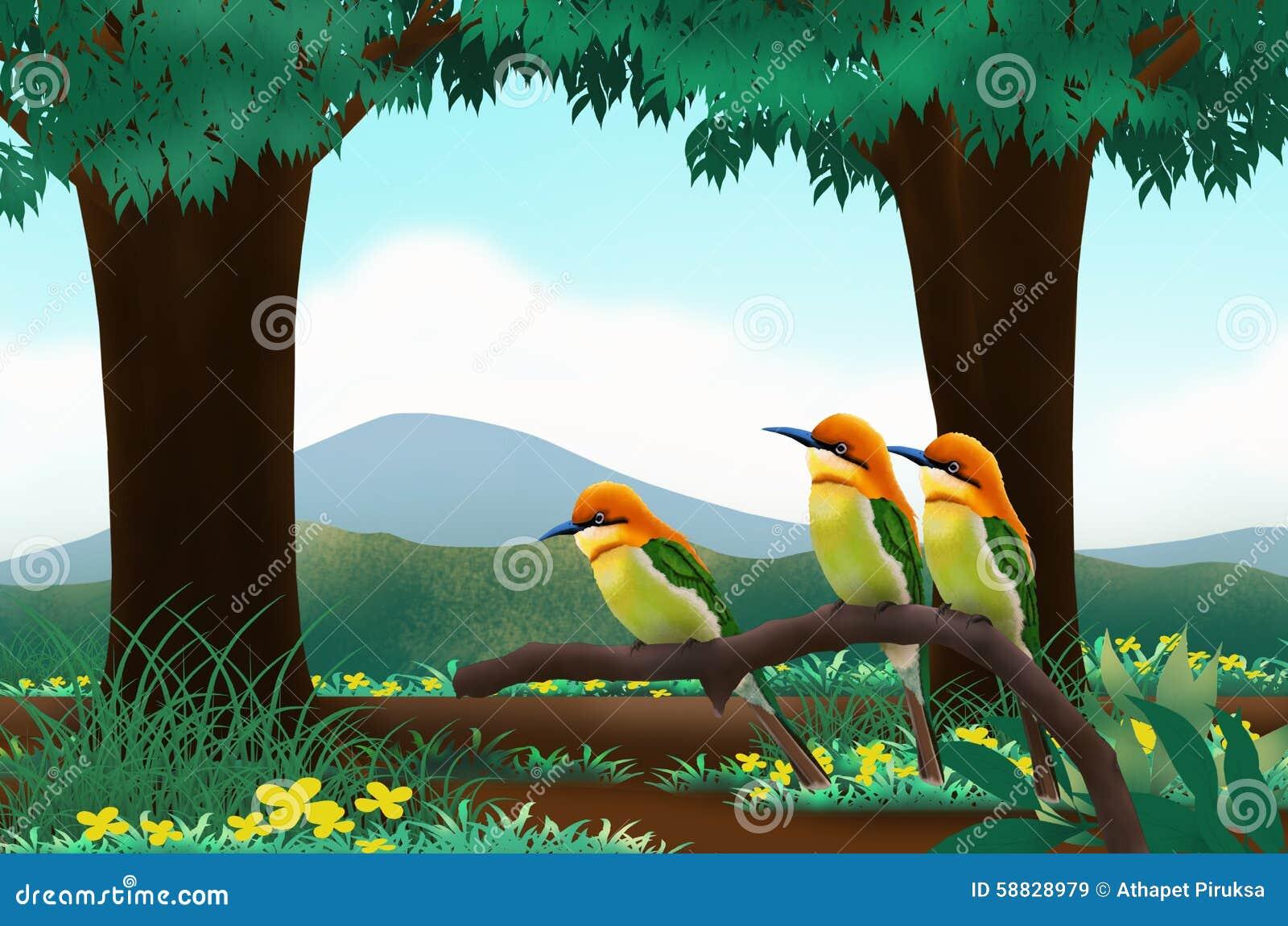 Birds In The Forest Stock Illustration. Illustration Of