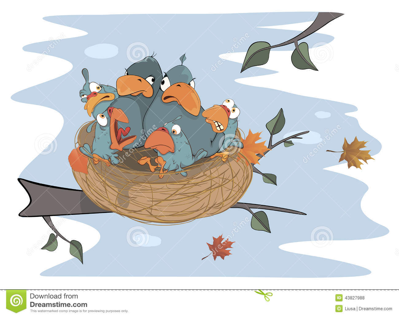 Birds With Her Four Babies In The Nest Cartoon Stock ...
