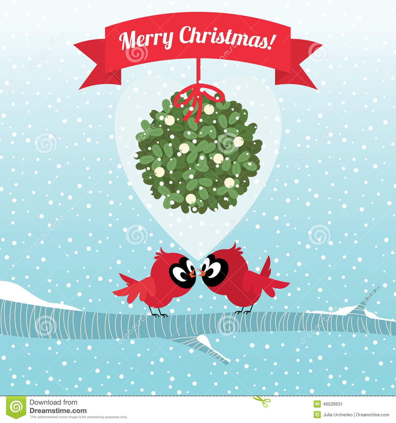 birds kissing under a branch of mistletoe christmas - Mistletoe Christmas
