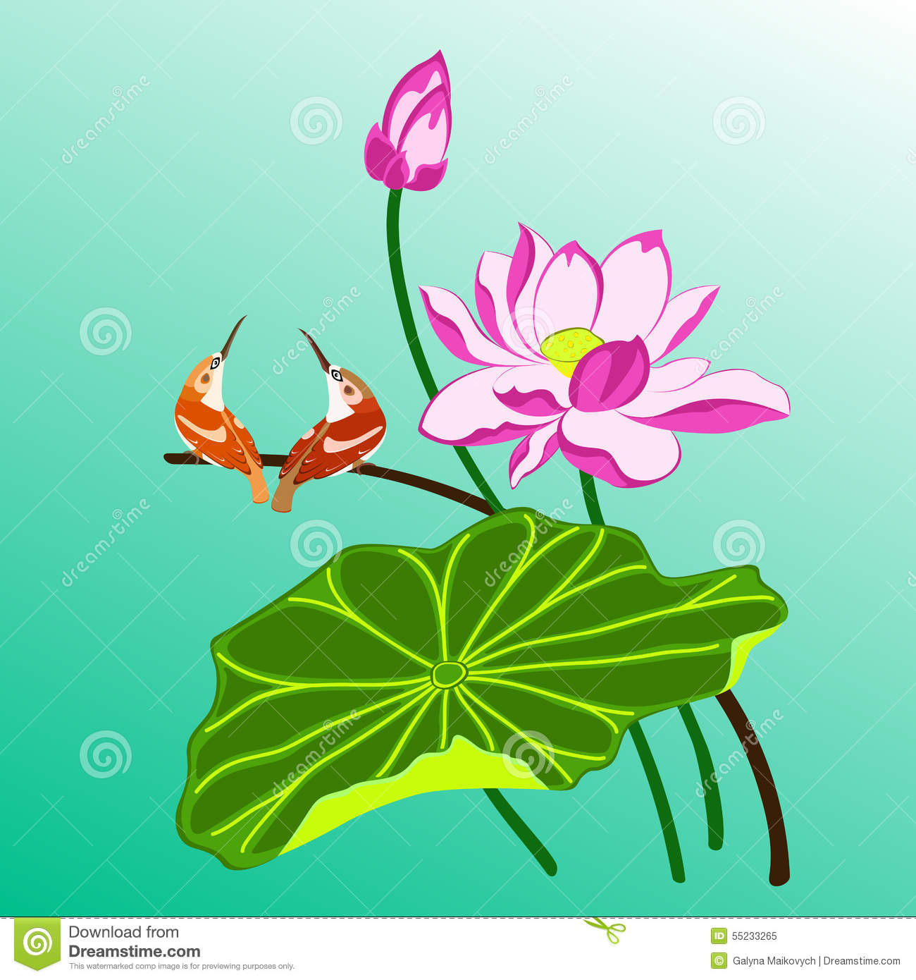 Birds And Lotus Stock Vector. Illustration Of Blooming