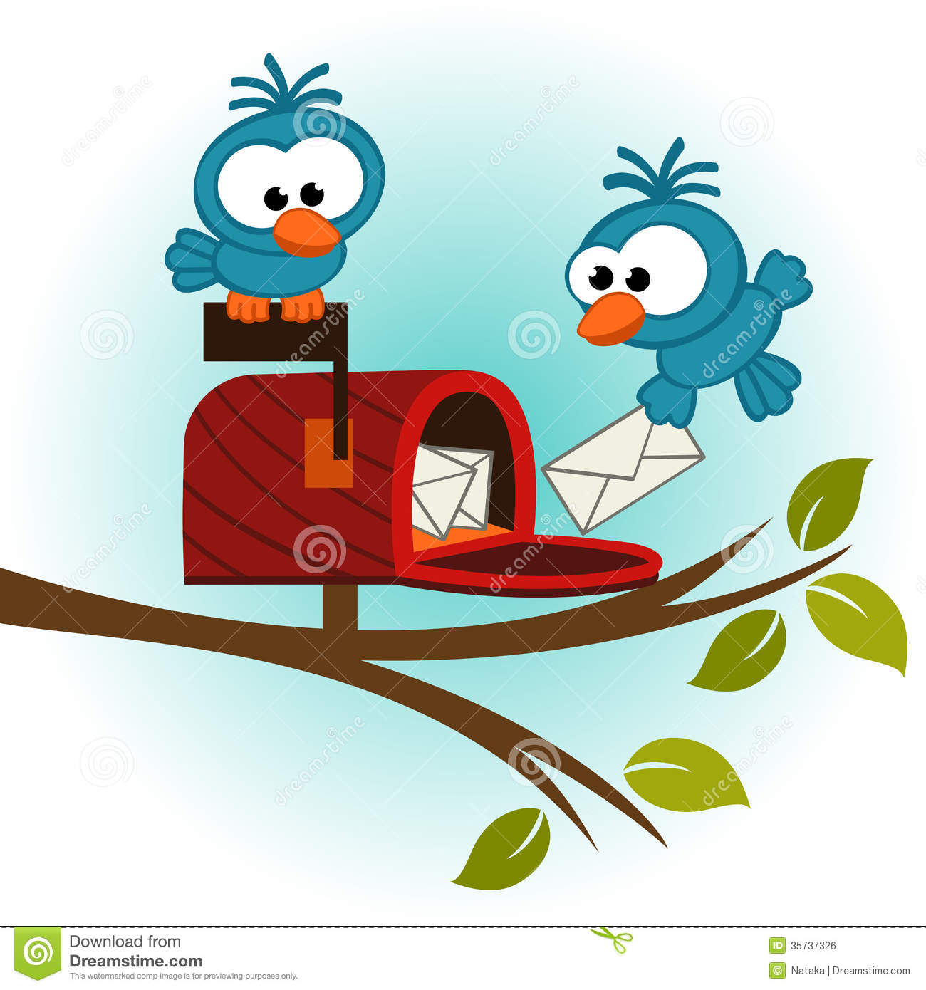 Birds And Mailbox With Mail Stock Vector - Illustration of ...