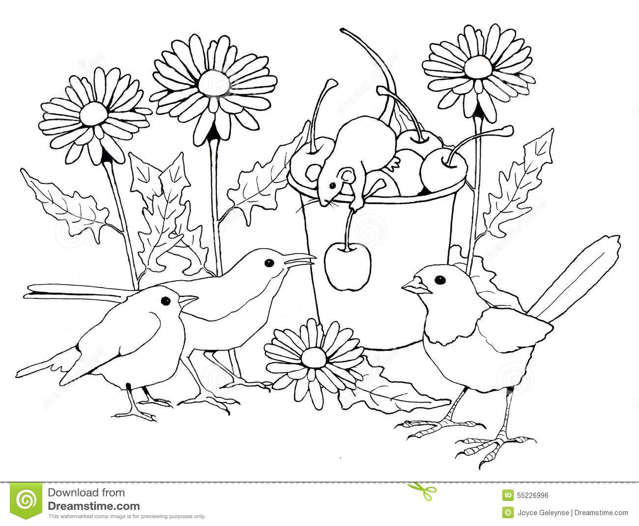 Birds And Mice With Flowers, Coloring Page Stock Illustration ...