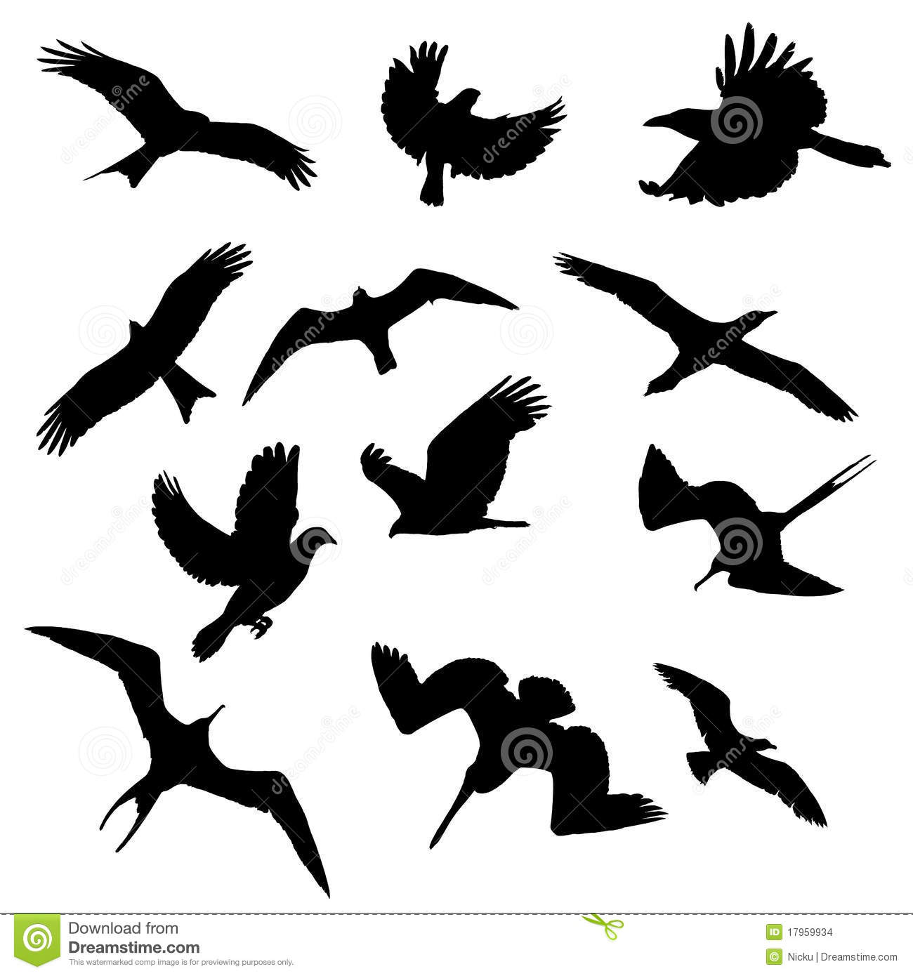 Birds Shapes Collection Stock Illustration. Illustration