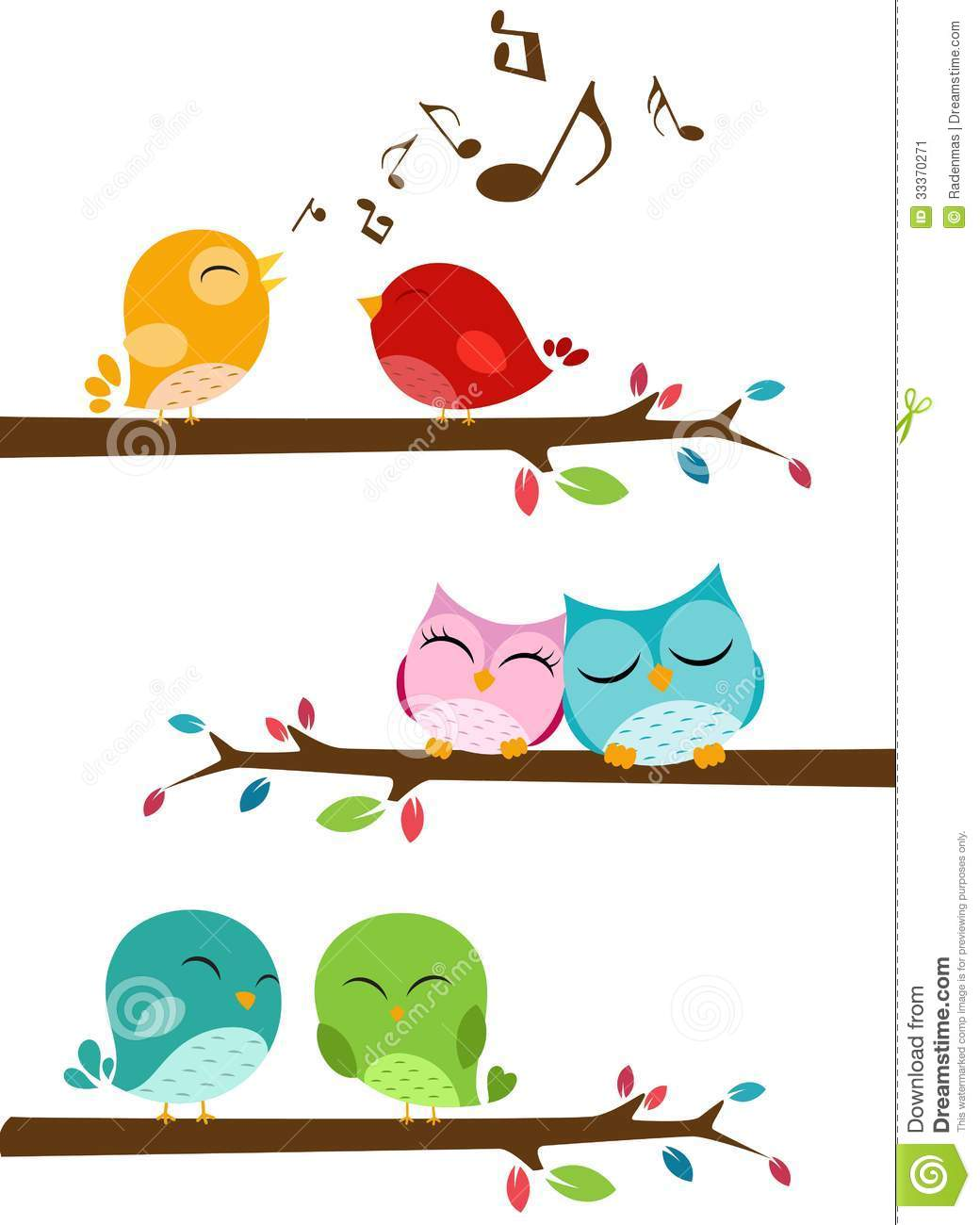 birds singing on the branch stock image image 33370271 pink owl on branch clip art owl on branch clipart black and white