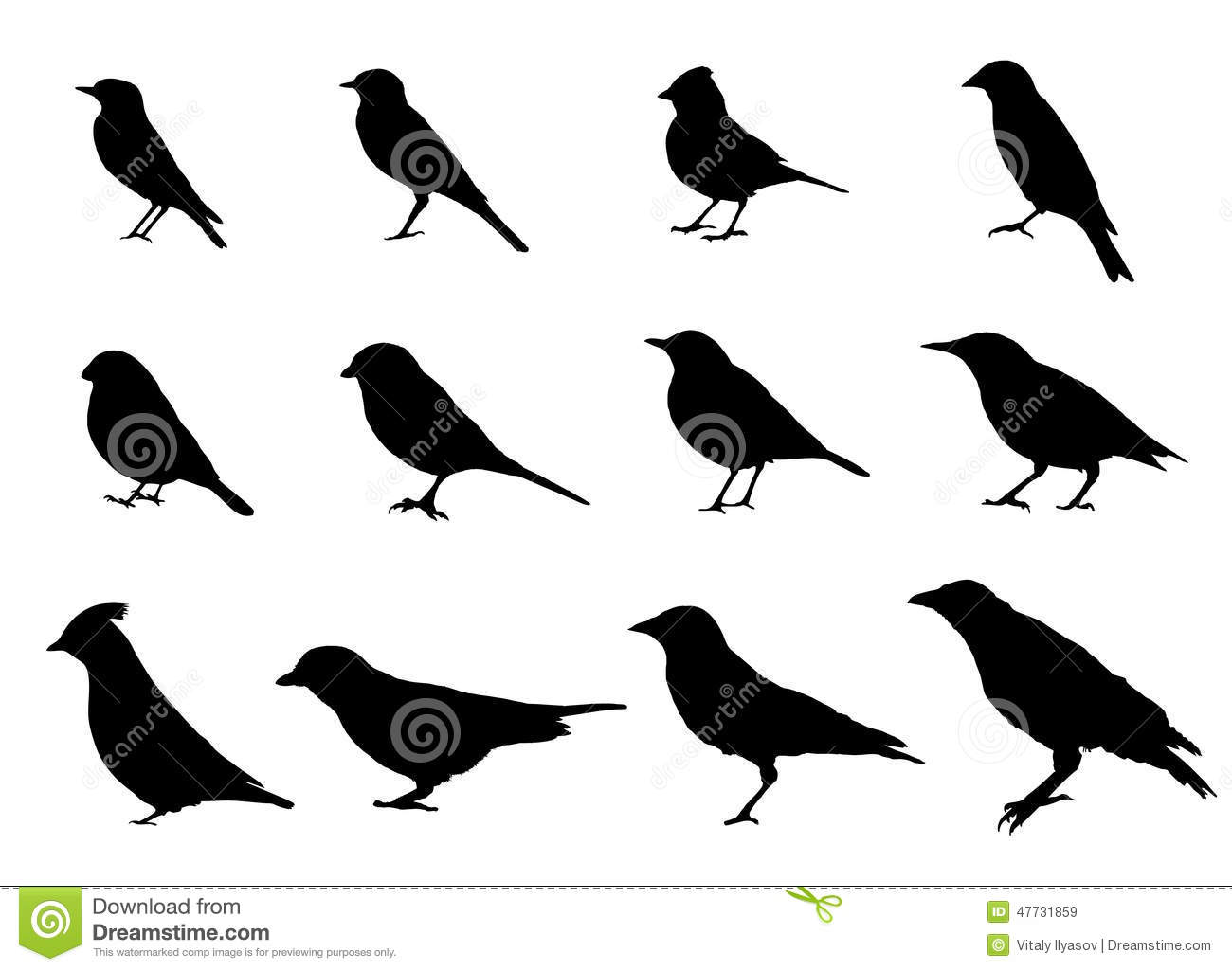 Birds Sitting Side View Silhouettes Stock Illustration ...