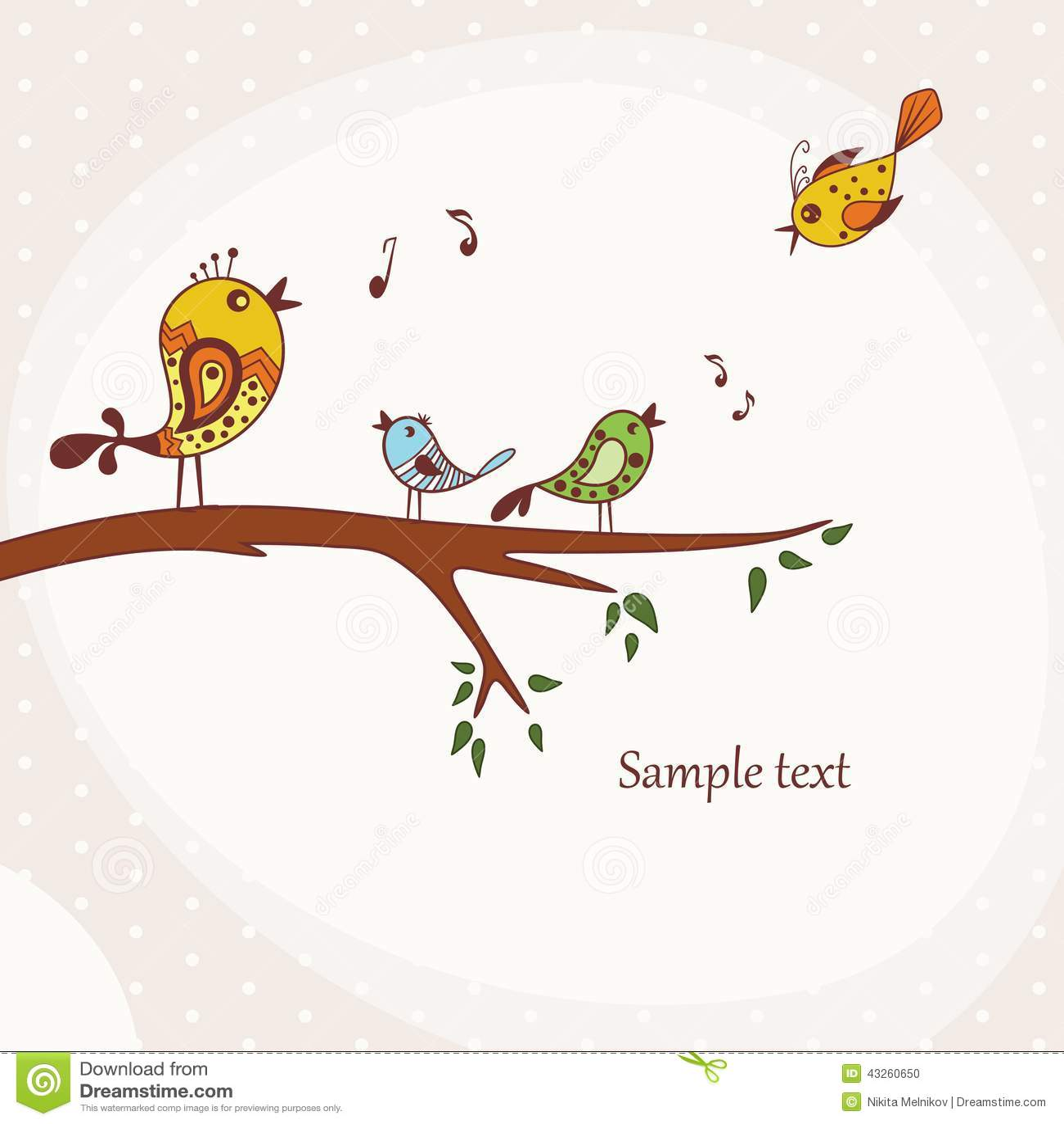 Birds Sitting Tree Branch Illustration Singing Perched Decorative Elements Happy Bird