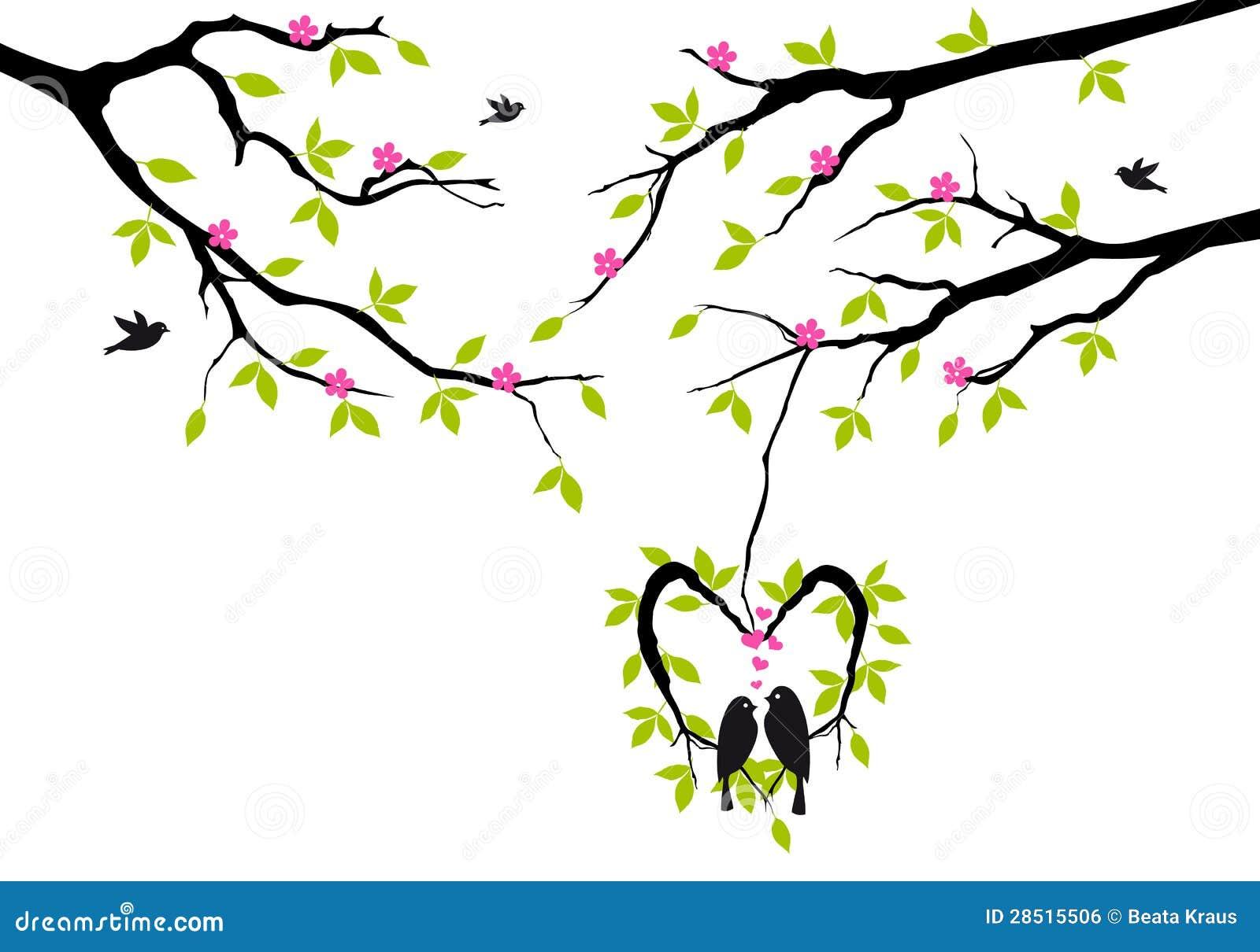 Birds on tree in heart nest,