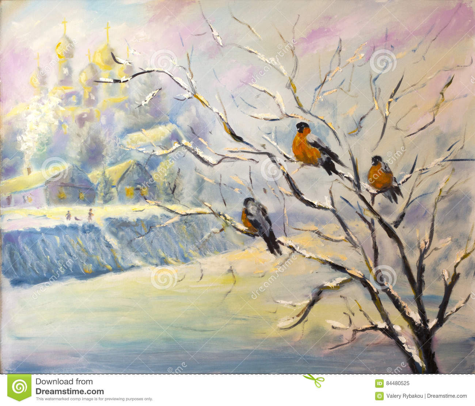 Birds On A Tree In Winter Village Stock Illustration Illustration
