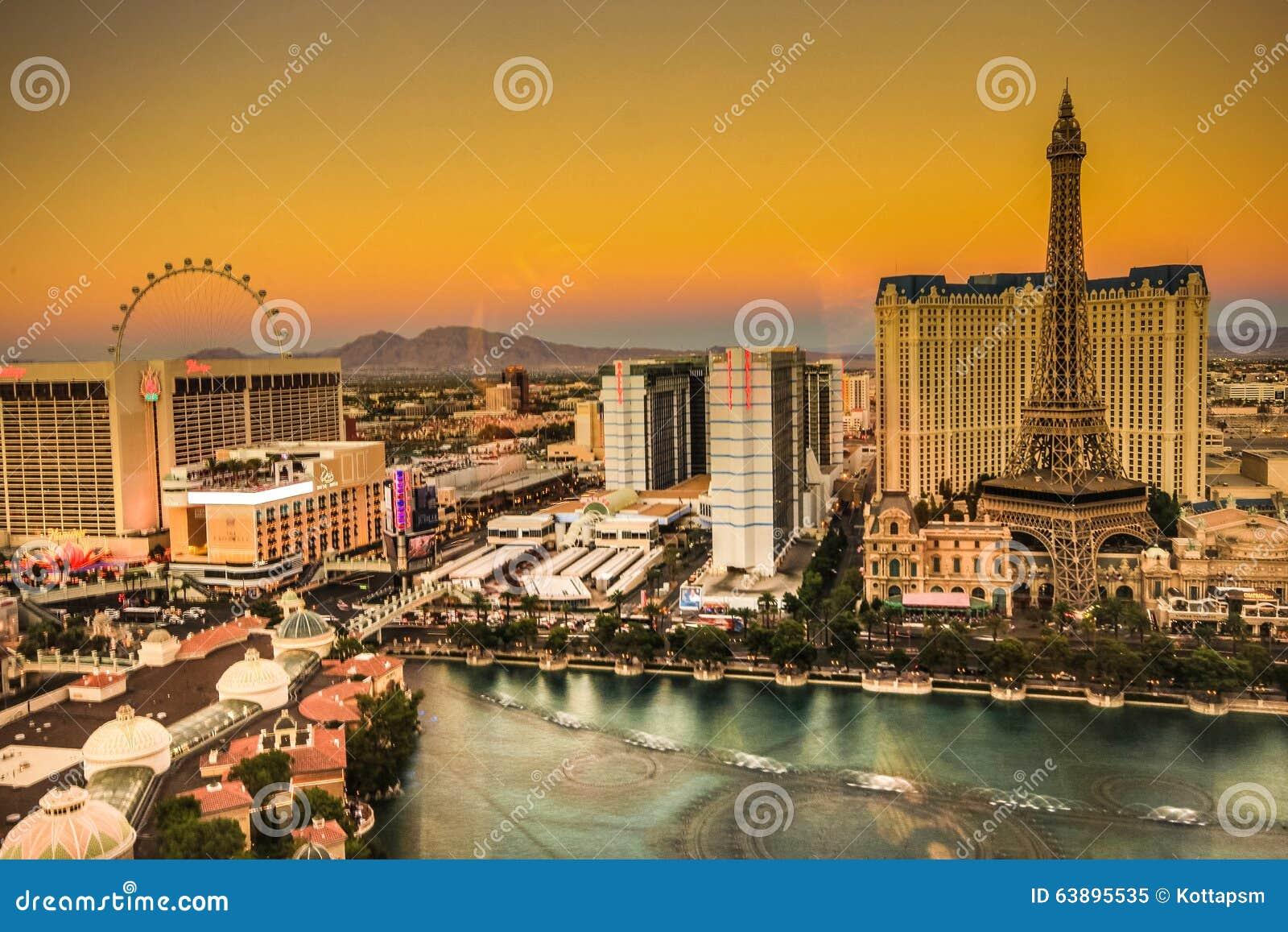 Birds view of Las Vegas Strip at twilght