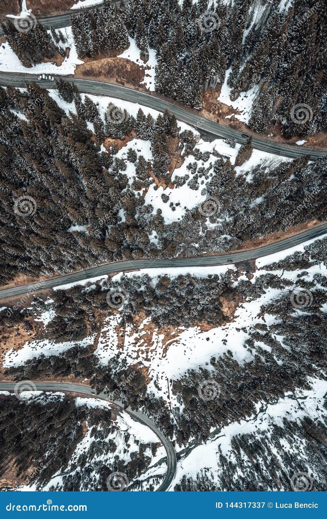 Birdseye view of a snowy road