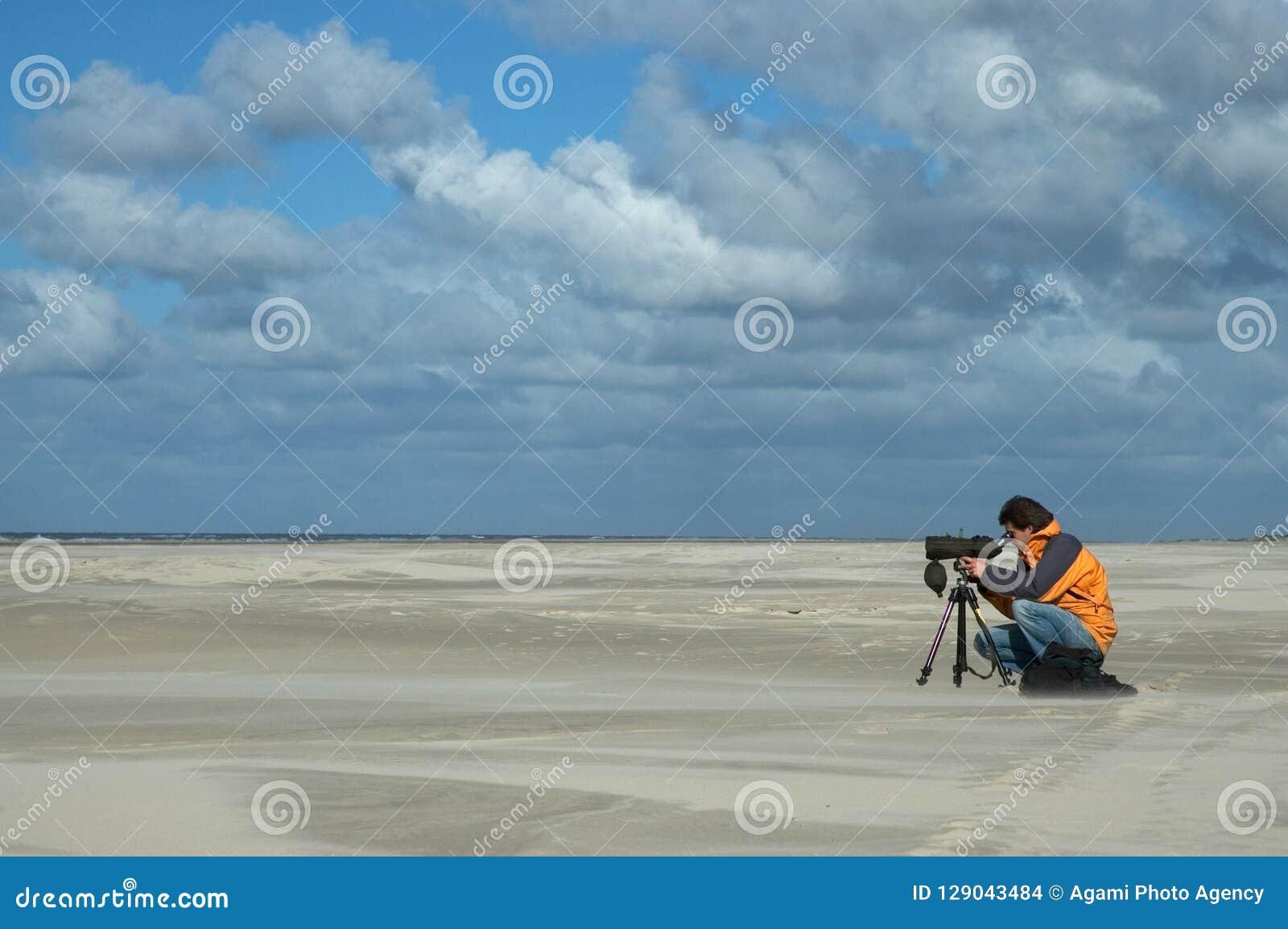 Birdwatcher на пляже, стренге Vogelaar op