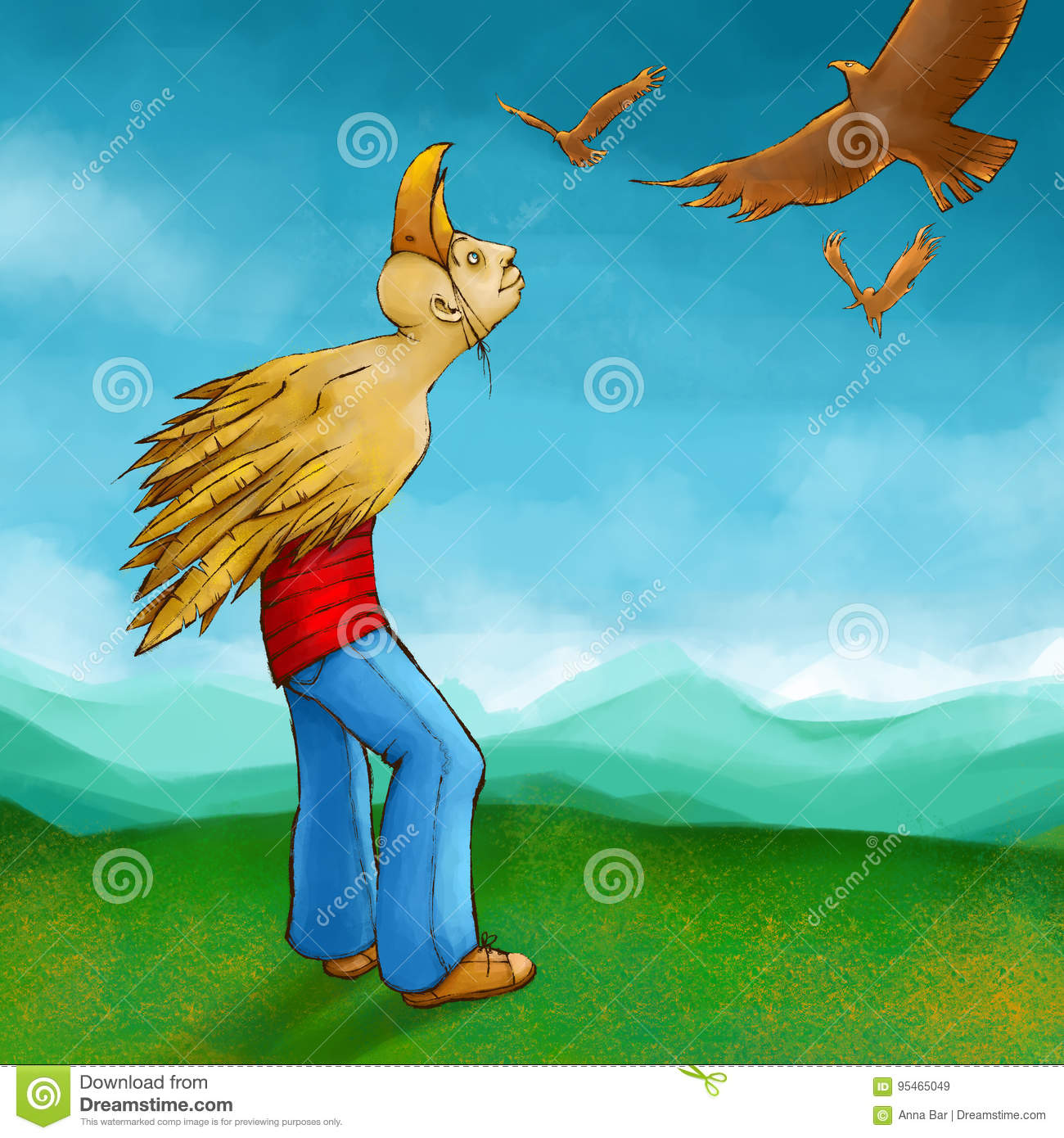 Winged Man Dreaming About Flying Stock Illustration