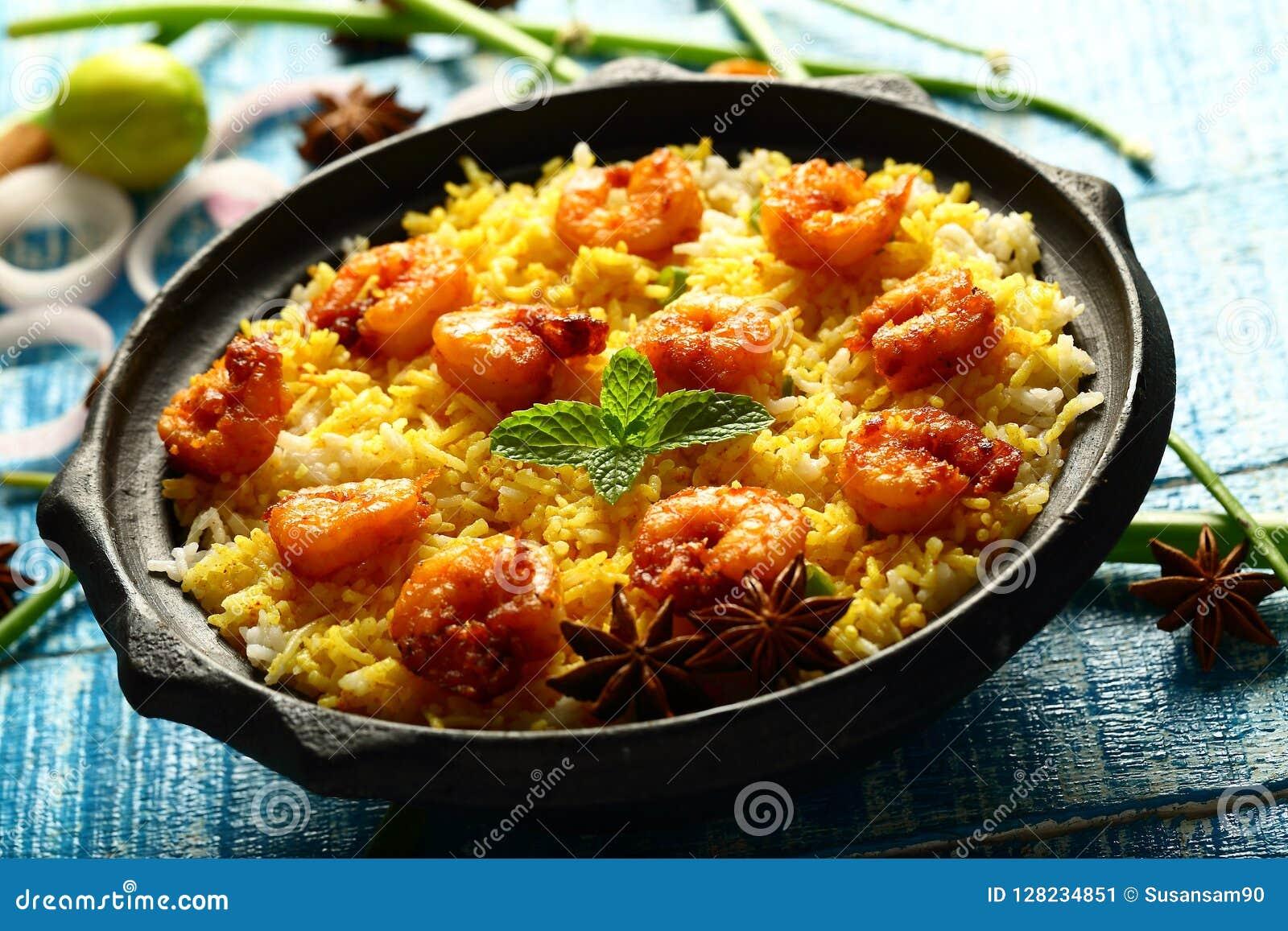 Biriyani delizioso casalingo dei frutti di mare, biryani, cucina indiana