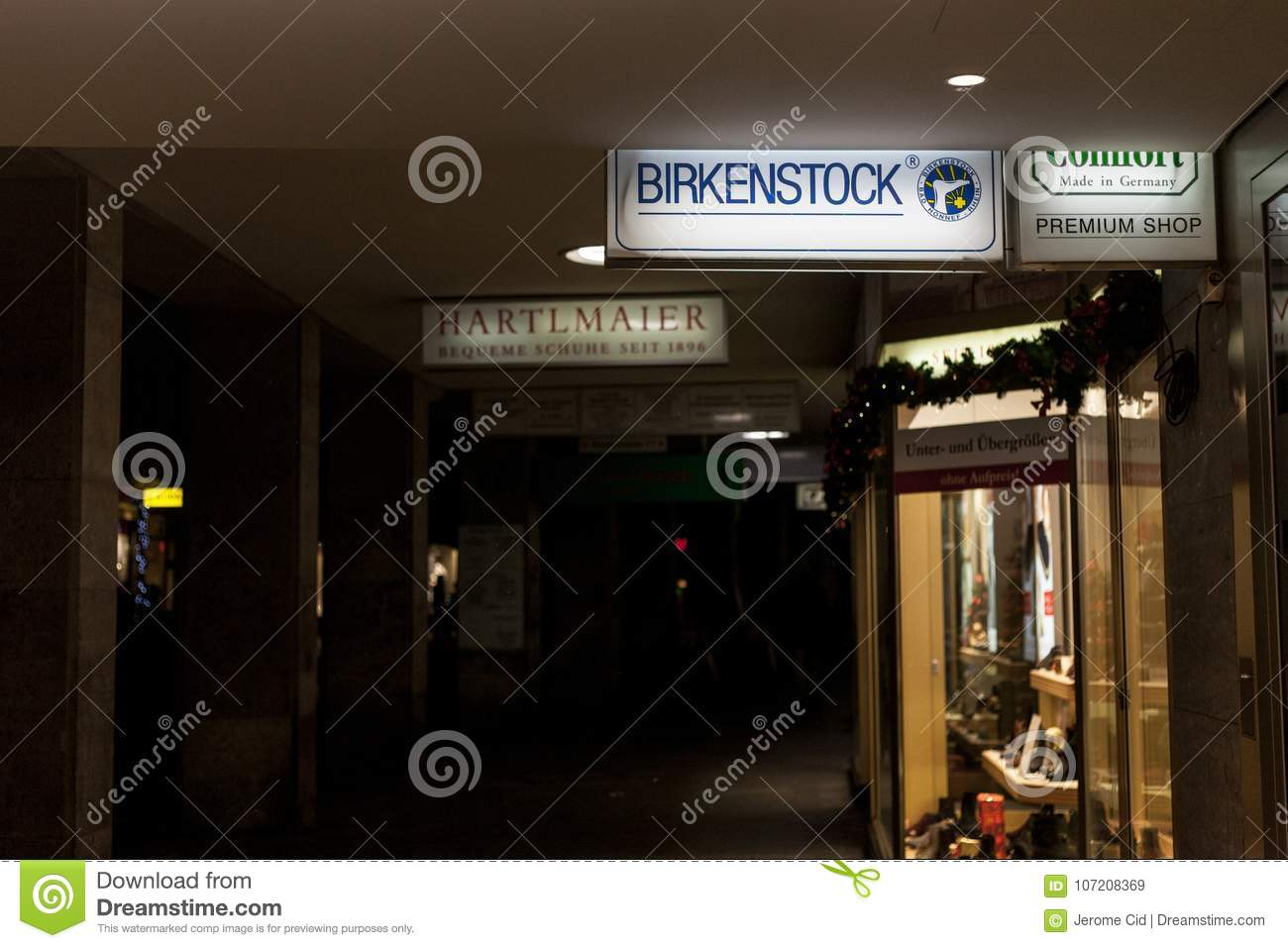Download Birkenstock Logo On A Munich Reseller Store Taken During Snowy Night Is