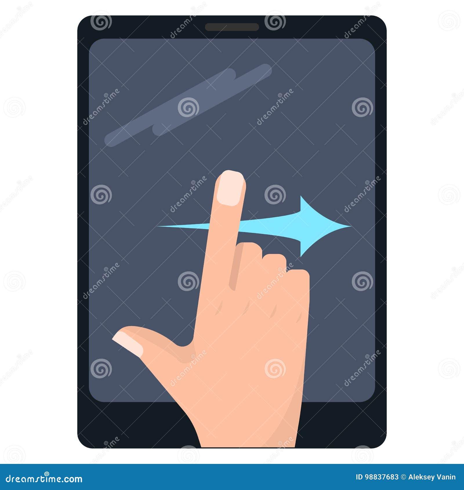Birle los gestos correctos de la pantalla táctil en el ejemplo del vector de la tableta