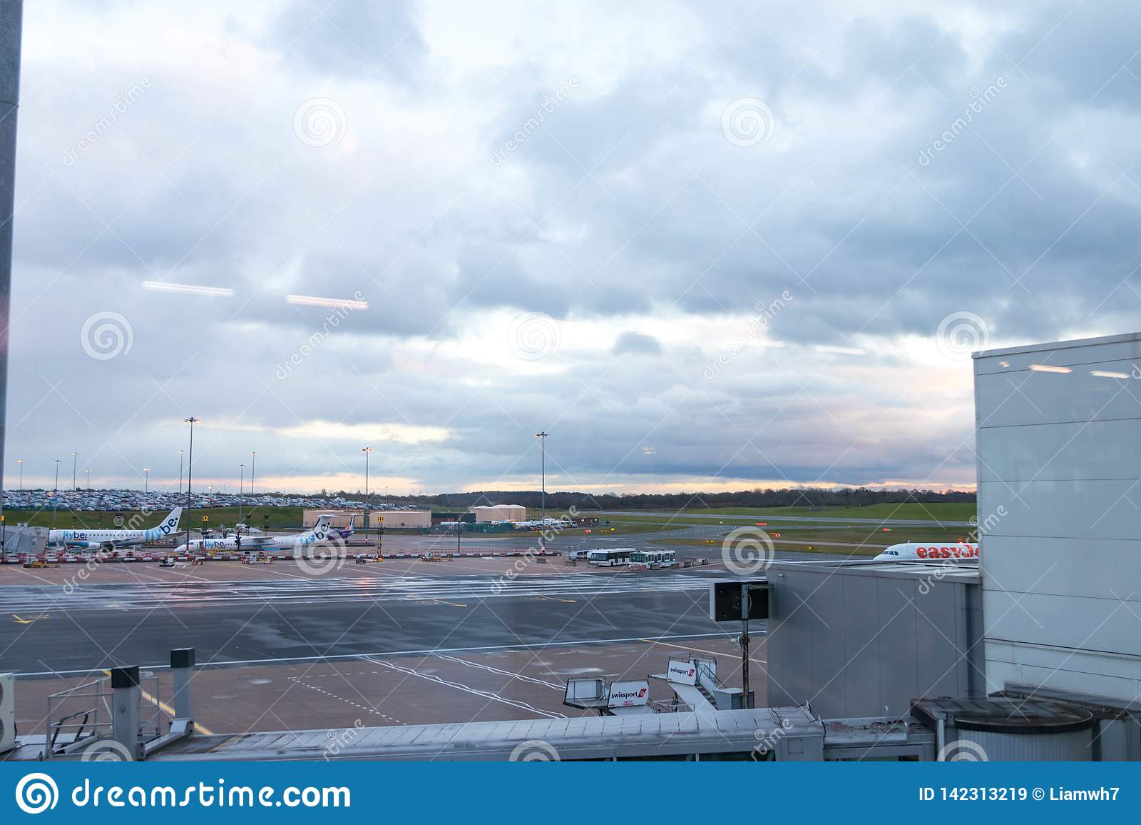 Birmingham/ UK - 03.03.19 : Birmingham Airport tarmac gates airplane