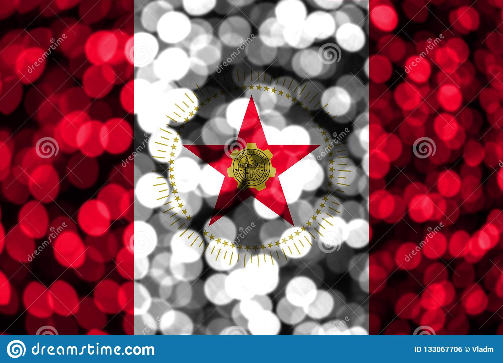 Alabama Christmas.Birmingham Alabama Abstract Blurry Bokeh Flag Christmas
