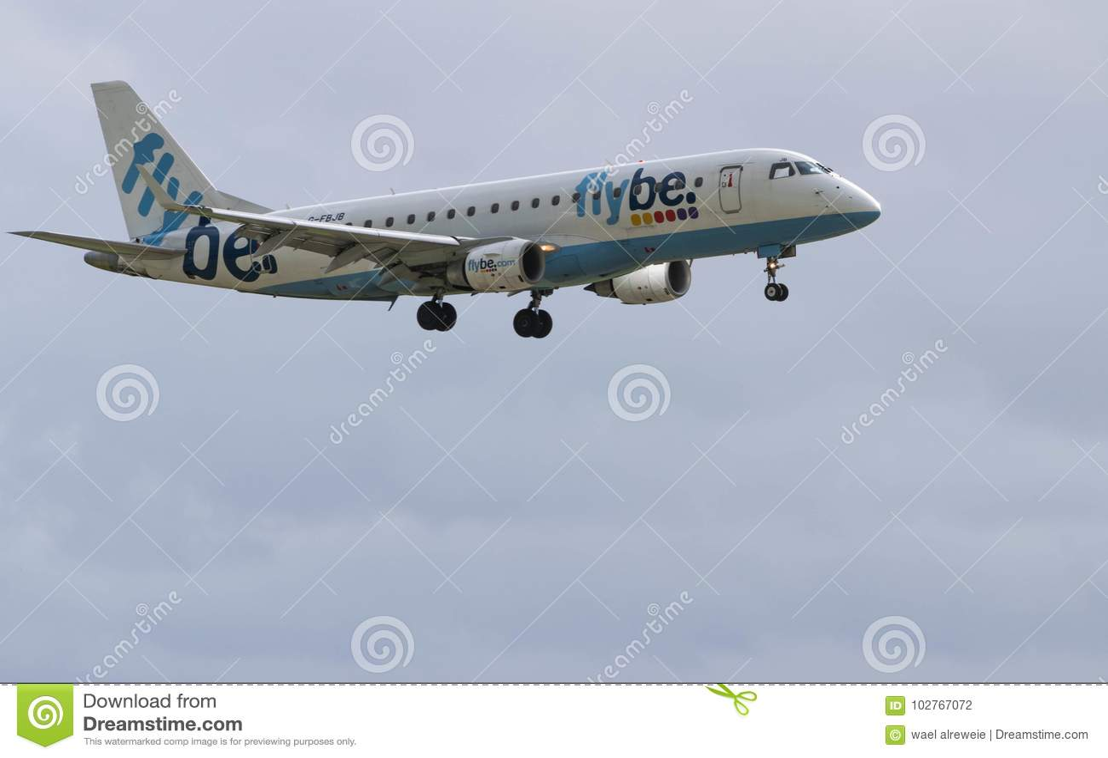 BIRMINGHAM INTERNATIONAL AIRPORT, BIRMINGHAM, UNITED KINGDOM - OCTOBER 28, 2017: a Flybe Airlines aeroplane landing in