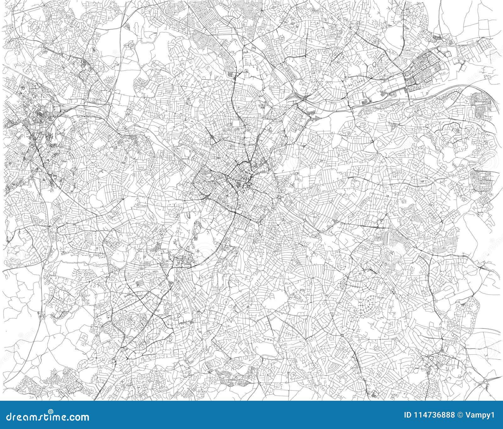 Birmingham Karte.Birmingham Karte Satellitenbild Stadt England Straßenansicht