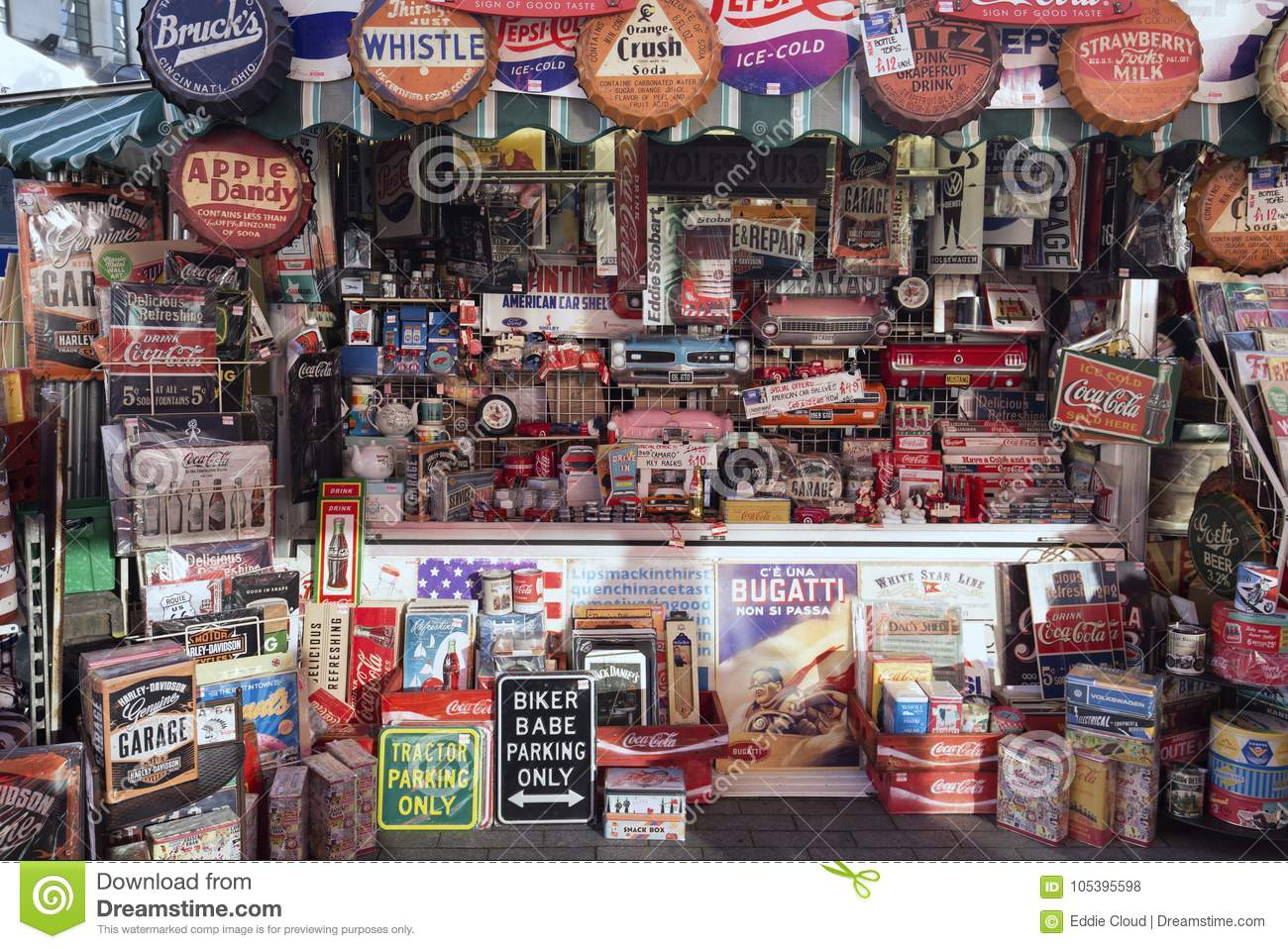 Vintage Signs Outdoor Market Display Editorial Stock Photo - Image