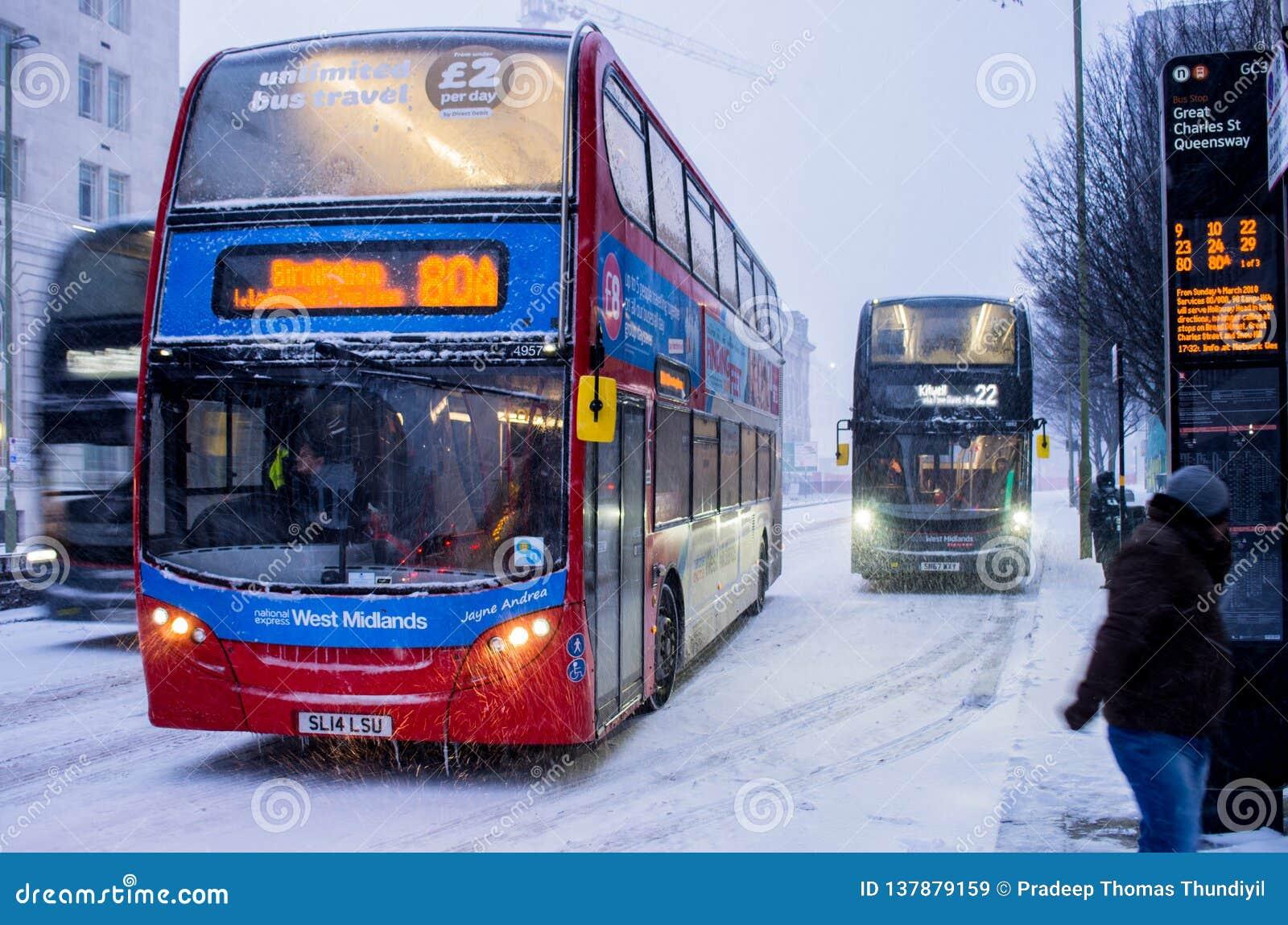 Heavy snow in Birmingham, United Kingdom