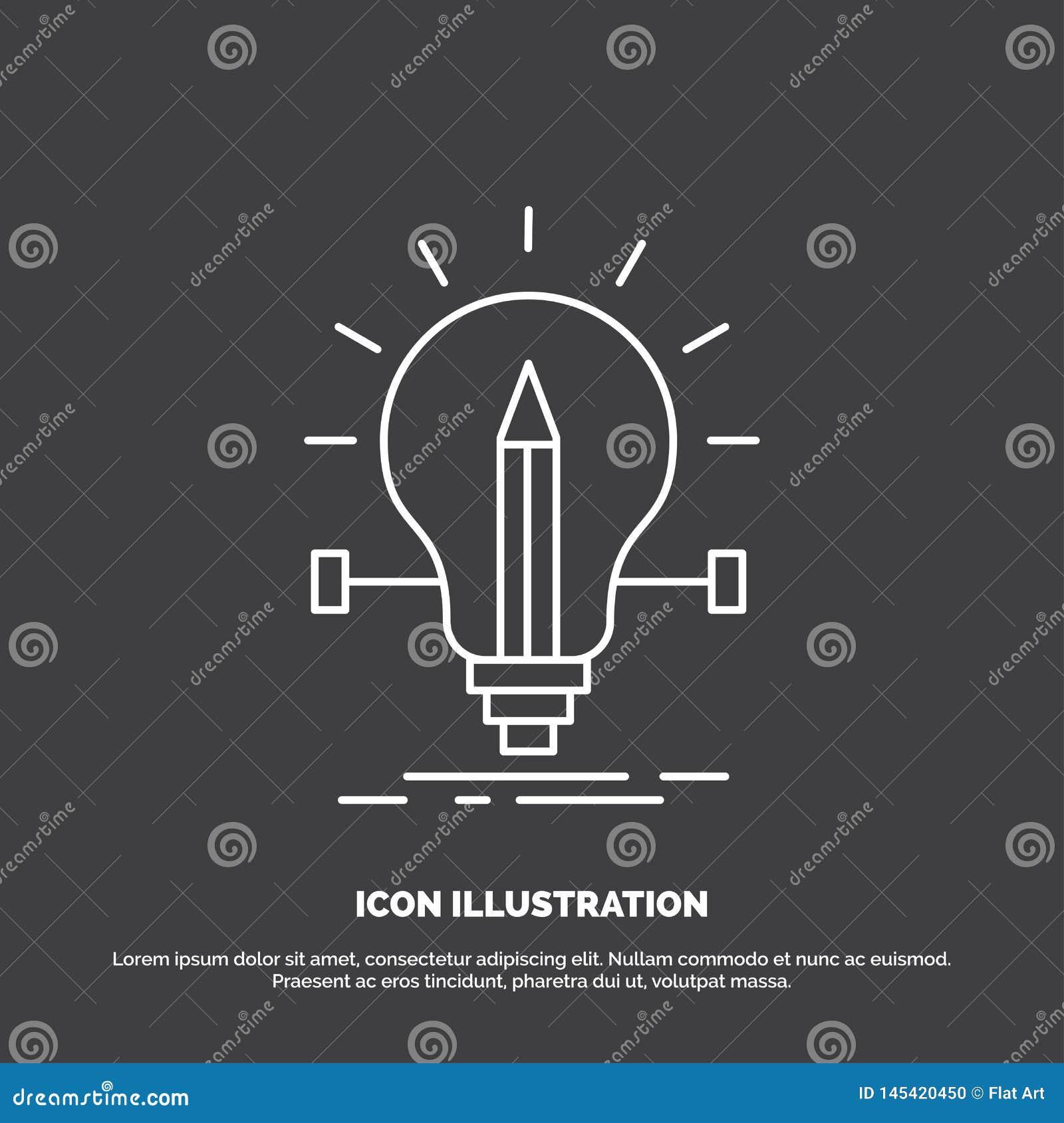 Birne, kreativ, Lösung, Licht, Bleistift Ikone Linie Vektorsymbol f?r UI und UX, Website oder bewegliche Anwendung