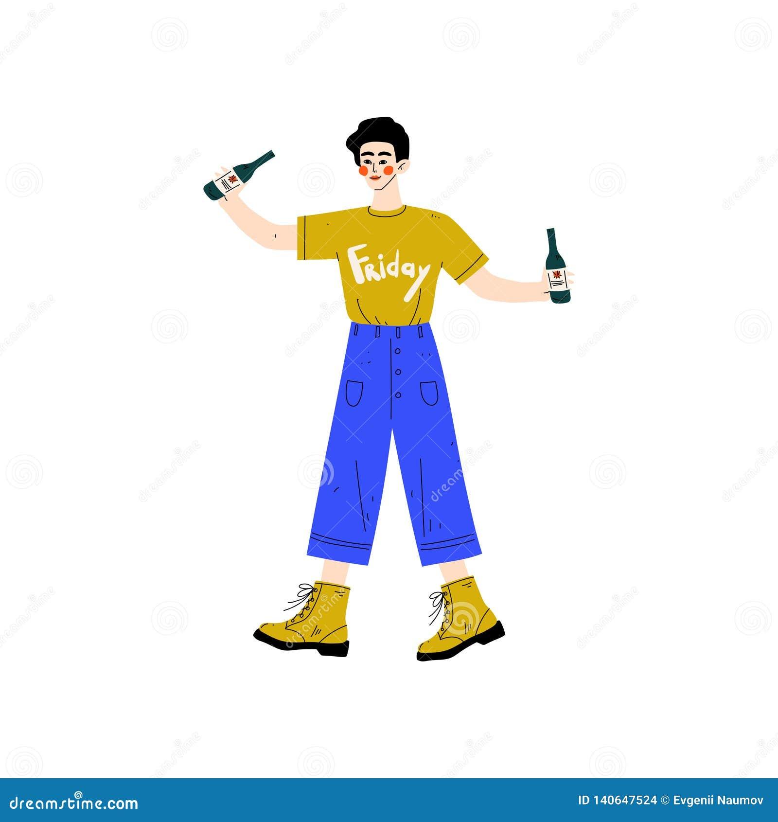 Birra bevente del giovane, tipo ubriaco in abbigliamento casual che tiene due bottiglie dell illustrazione di vettore della bevan