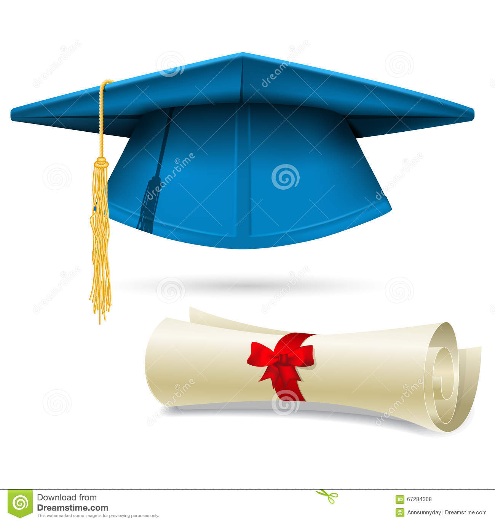 Birrete Y Diploma Ciánicos - Casquillo De La Graduación Ilustración ... 55d8aec45af
