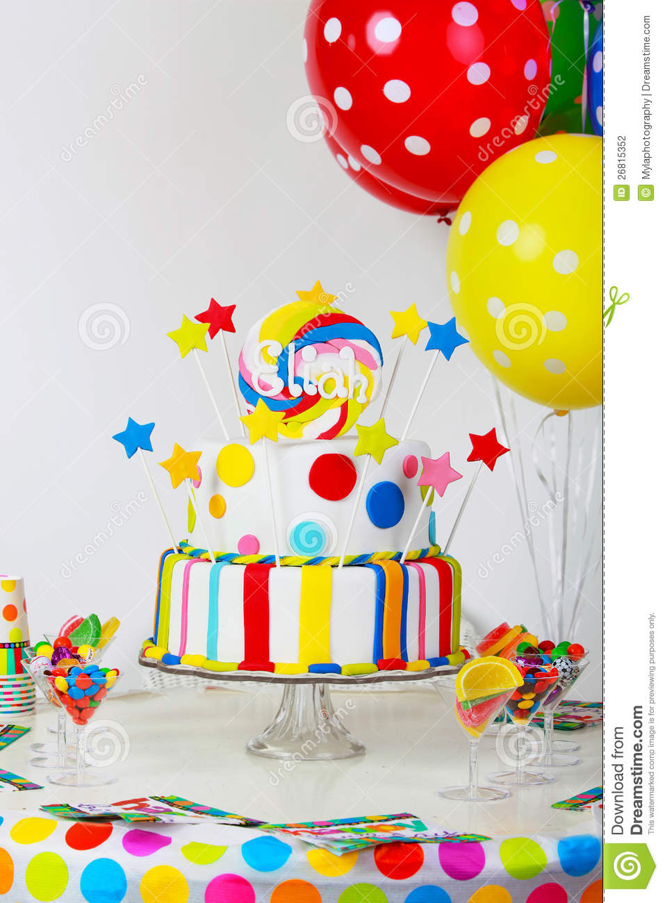 Formal Party Table Setting With Birthday Cake