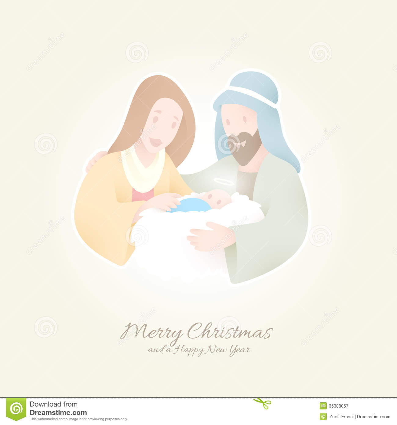 Birth Of Christ | Jesus Held By Maria And Joseph Stock Vector ...