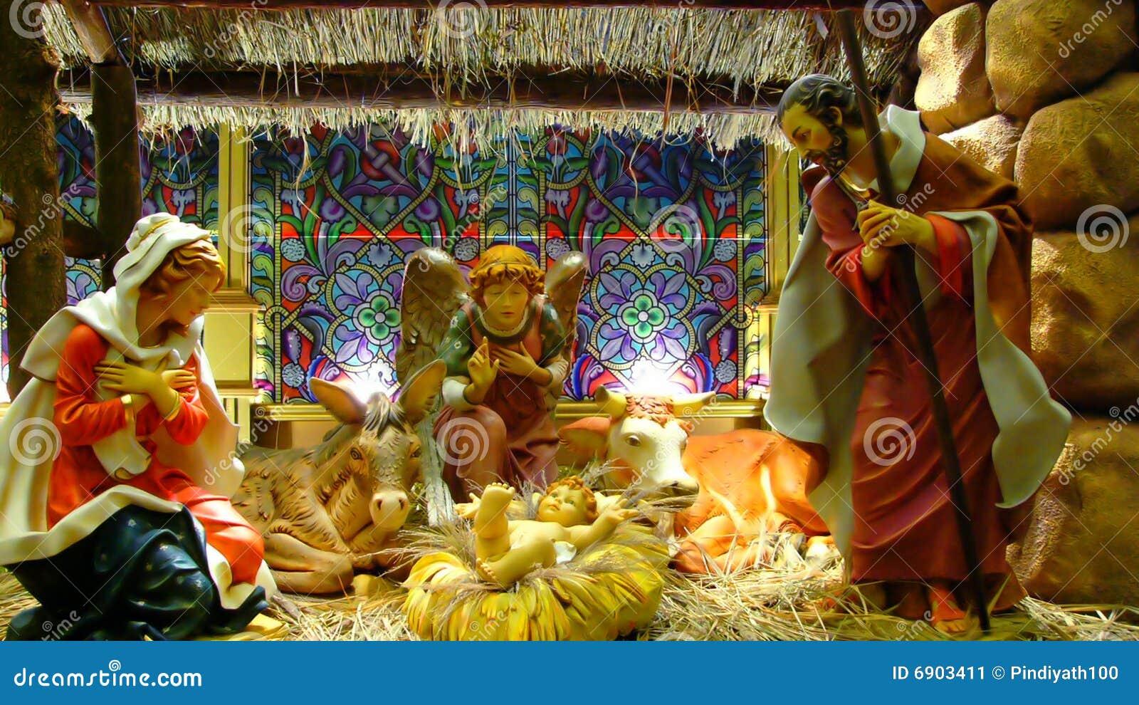 Birth Of Jesus Christ Christmas Stock Image - Image of straws ...