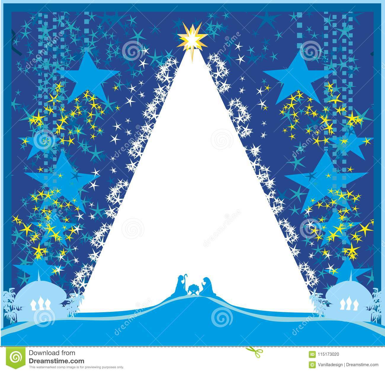 Birth Of Jesus In Bethlehem - Abstract Card Stock Vector ...
