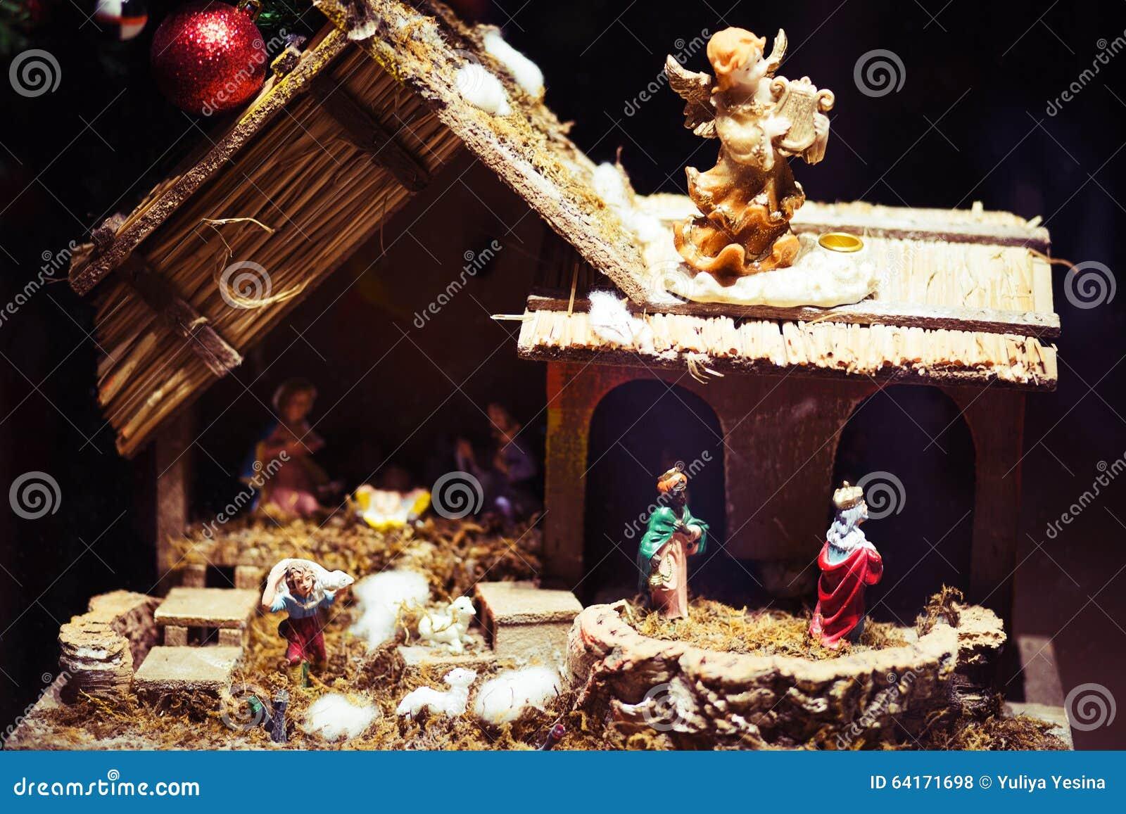 Birth Of Jesus Christ, Christmas Crib Stock Photo - Image of cave ...