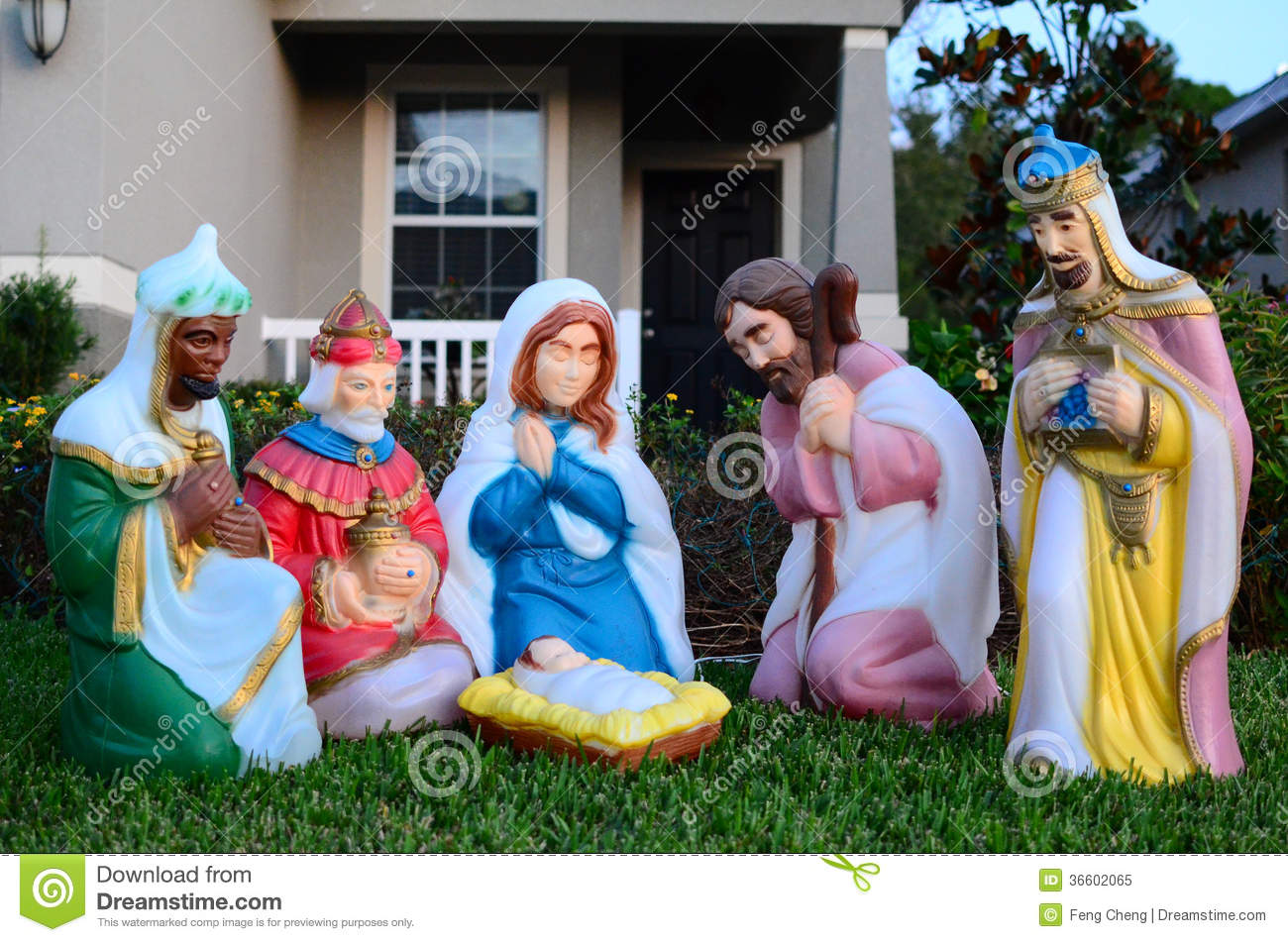 The birth of baby jesus christ statue stock image image for Baby jesus christmas decoration