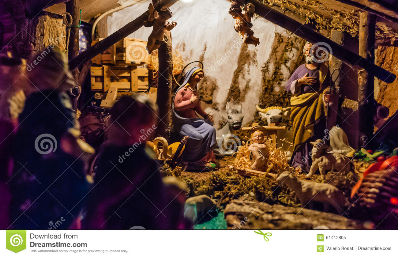 Birth Of Jesus In The Manger Stock Photo Image 61412805