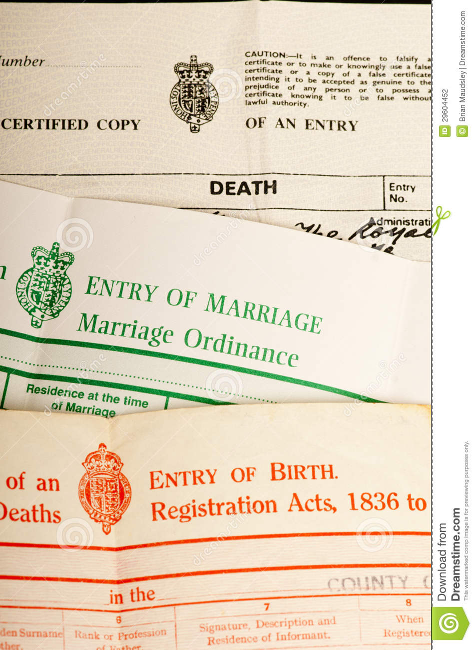 Birth marriage and death certificates stock photo image - Registry office of births marriages and deaths ...