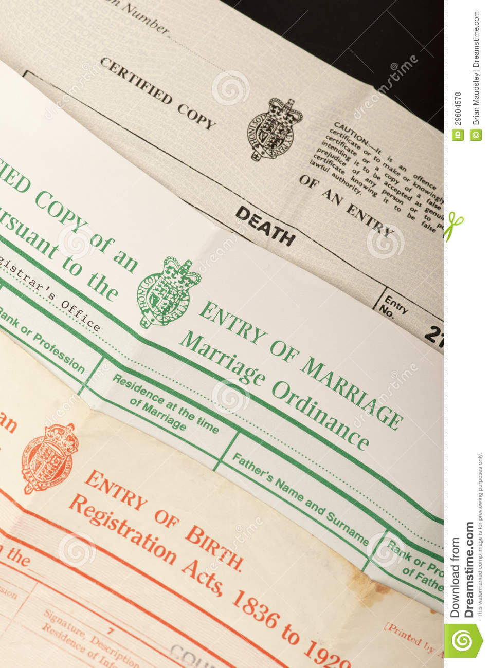 Birth Marriage And Death Certificates Stock Photo Image Of