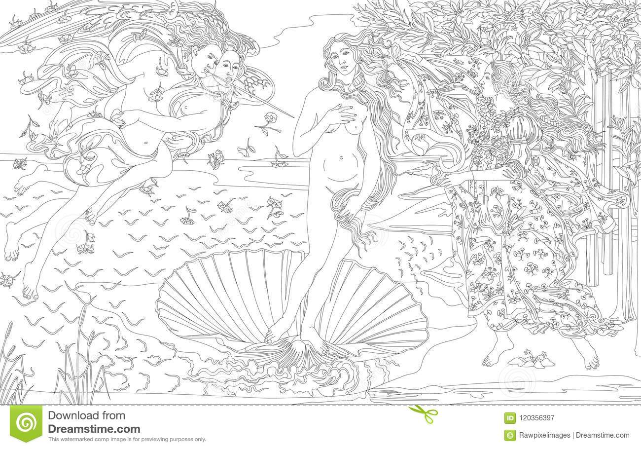 The Birth Of Venus 1483 1485 By Sandro Botticelli Adult Coloring