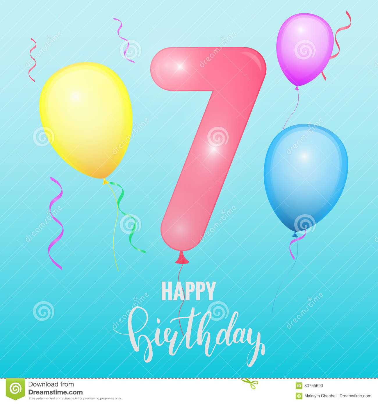 Number 7 Template For Birthday Hat