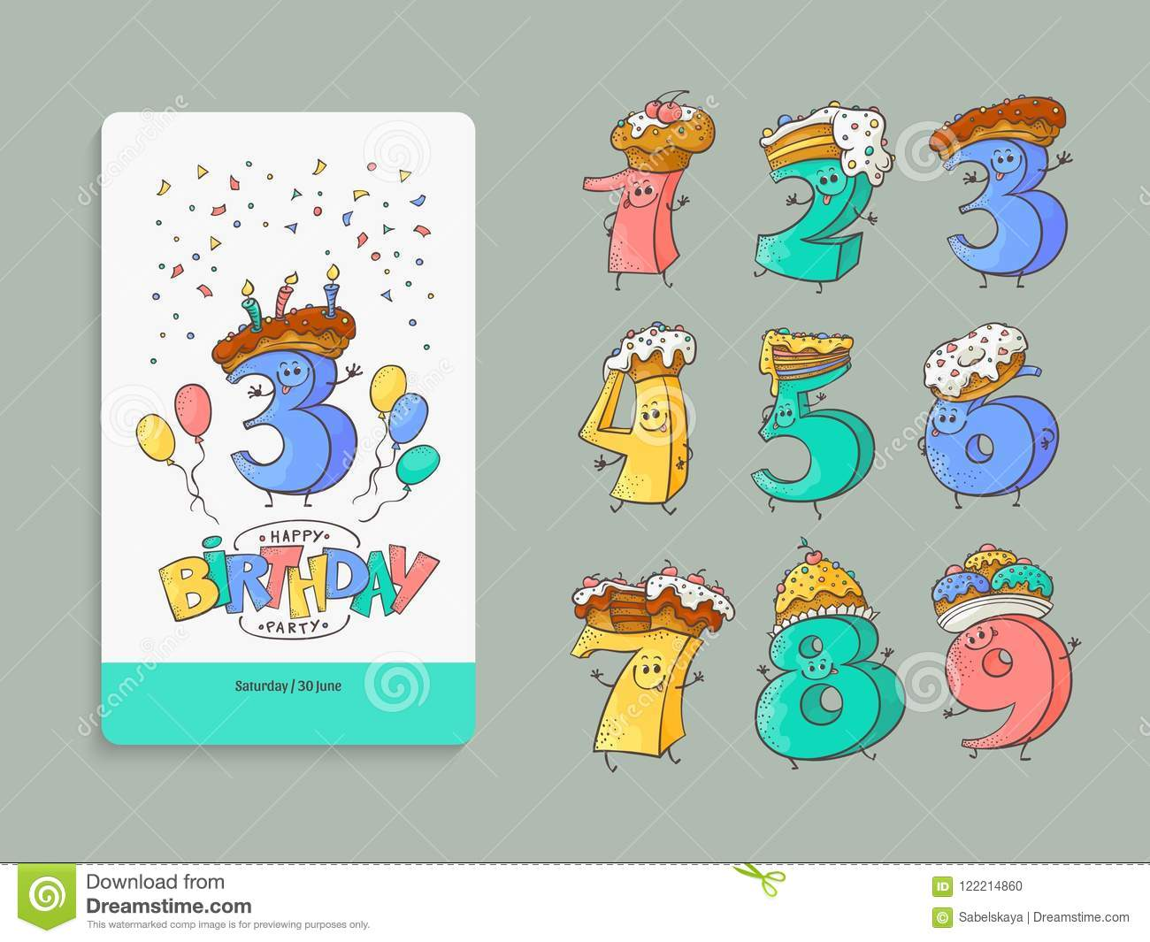 birthday anniversary numbers cartoon characters and invitation card
